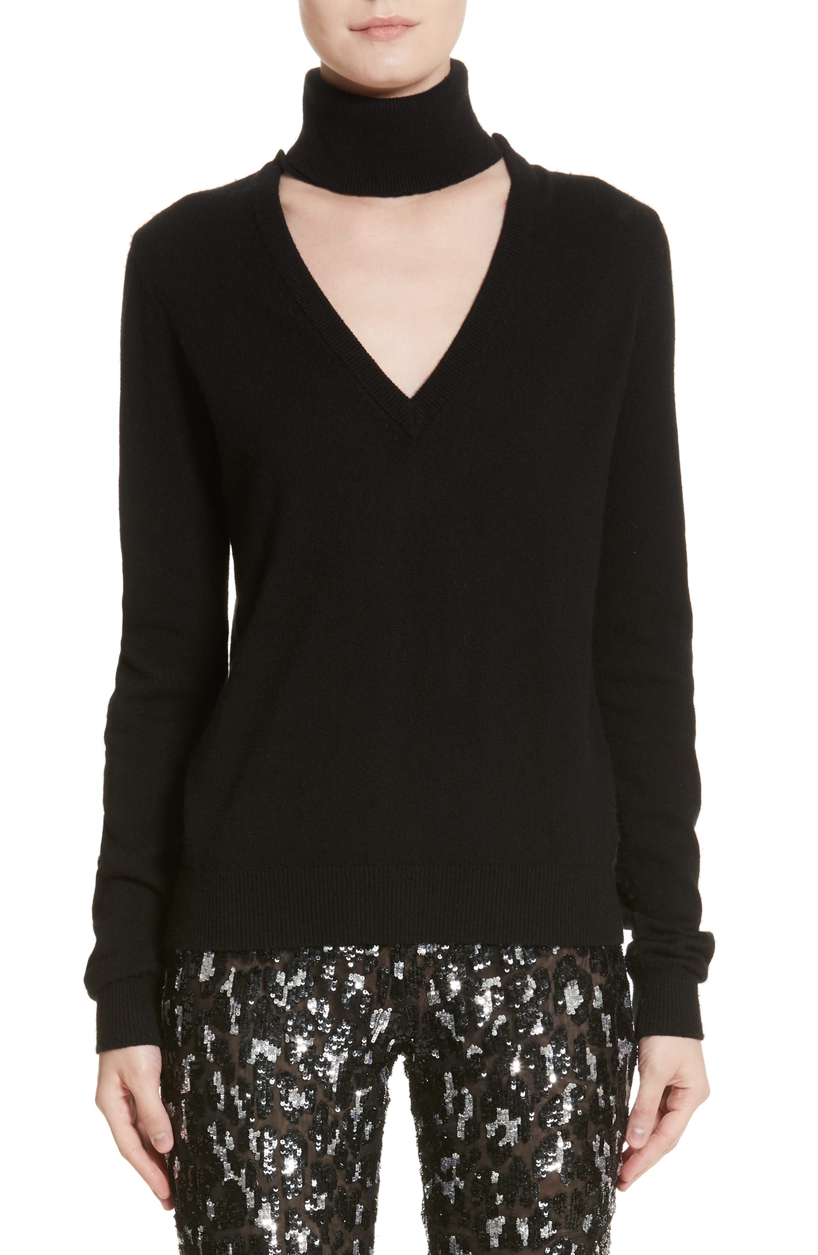 Cutout Turtleneck Cashmere Sweater,                         Main,                         color, Black