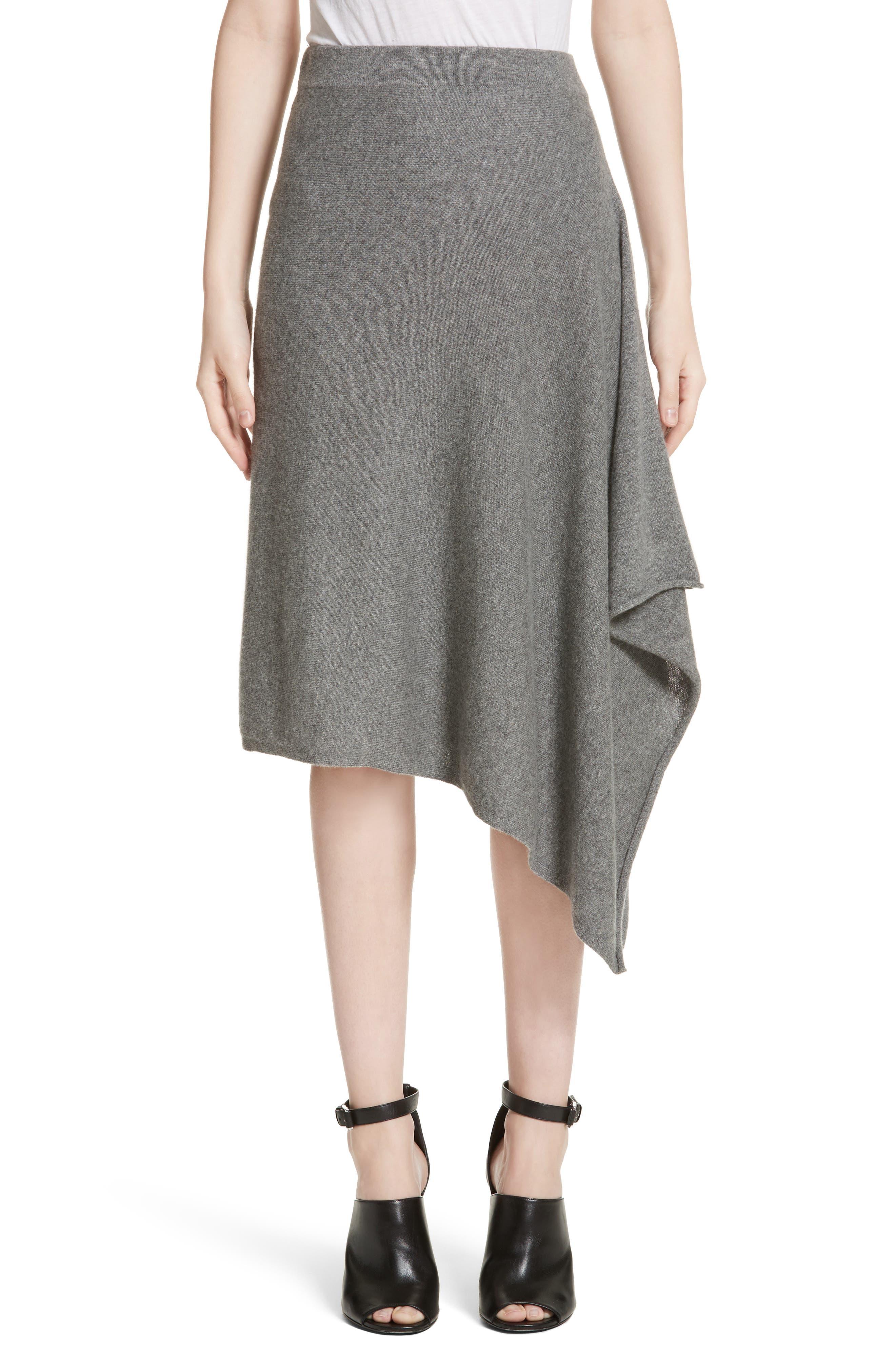 Cashmere Handkerchief Hem Skirt,                             Main thumbnail 1, color,                             Banker Mlange