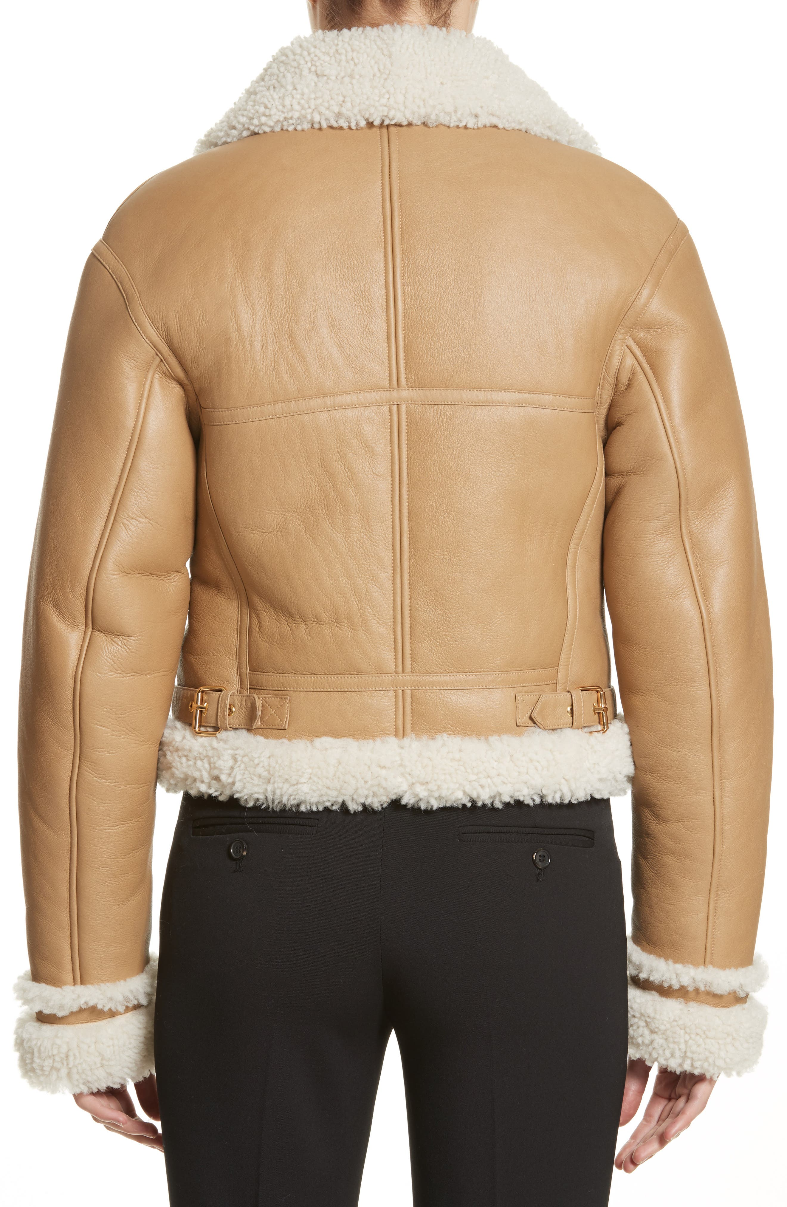 Alternate Image 2  - Michael Kors Genuine Shearling Moto Jacket