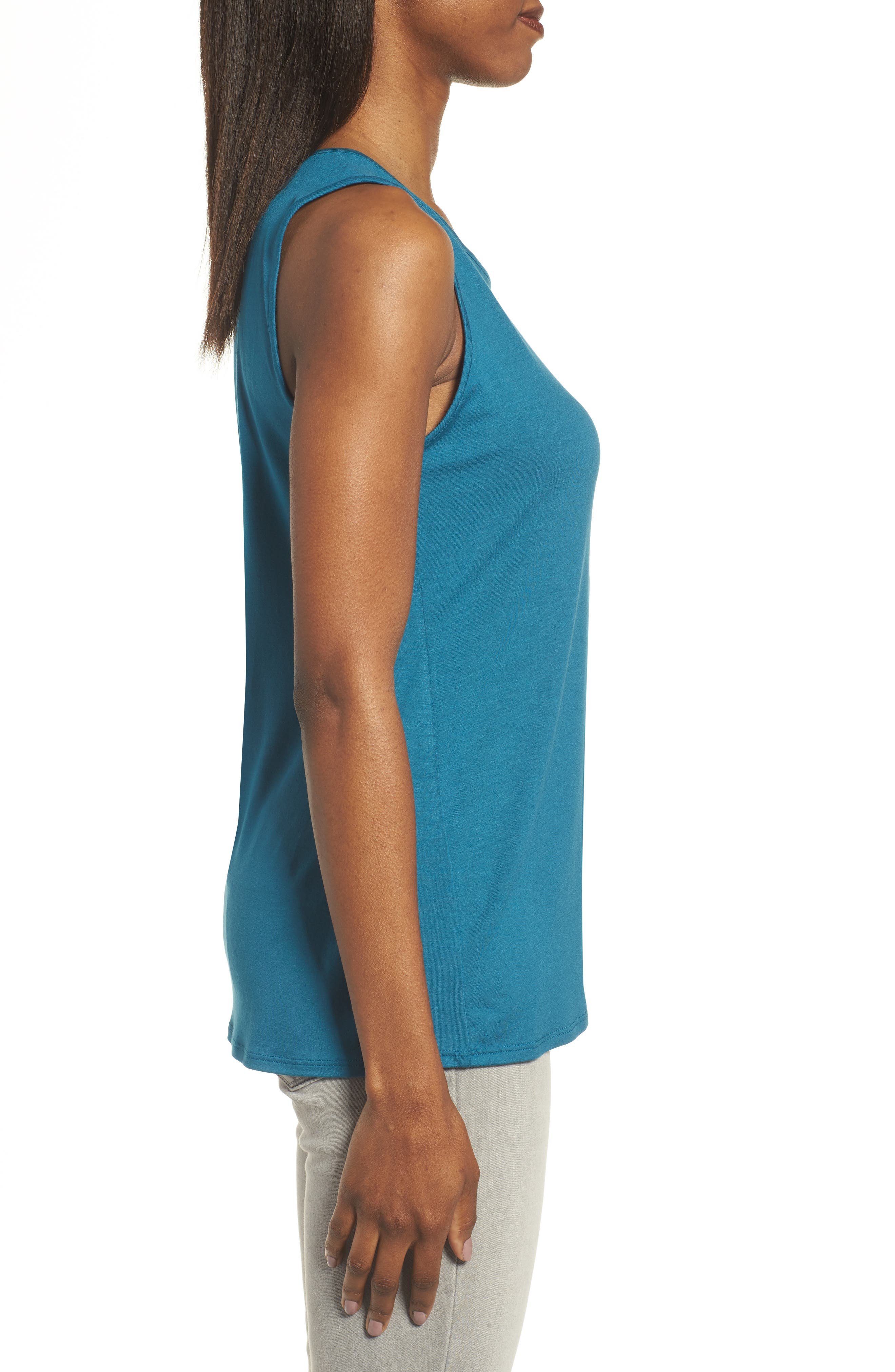 Lightweight Jersey Round Neck Tank,                             Alternate thumbnail 3, color,                             Nile