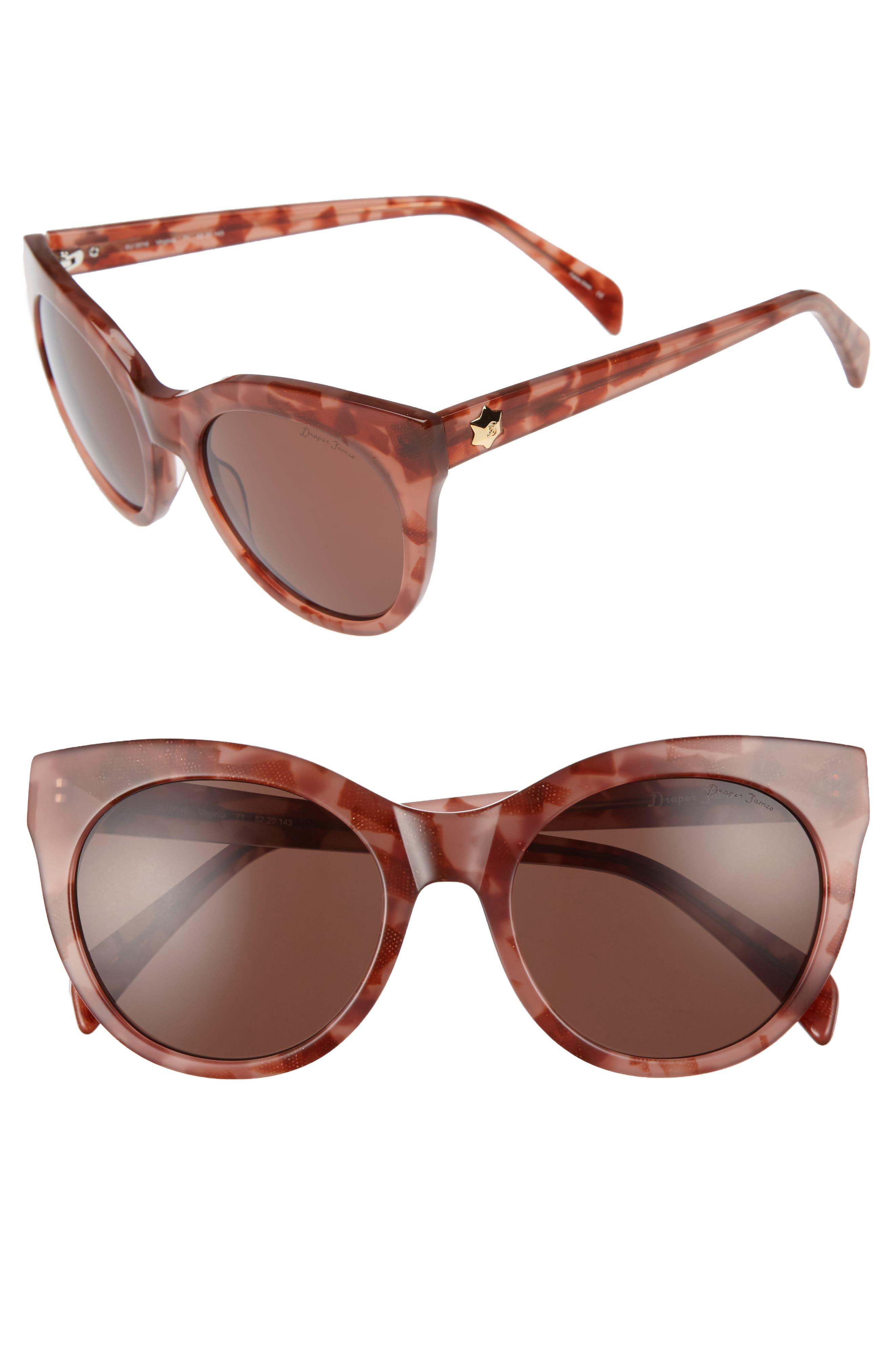 DRAPER JAMES 52mm Round Cat Eye Sunglasses