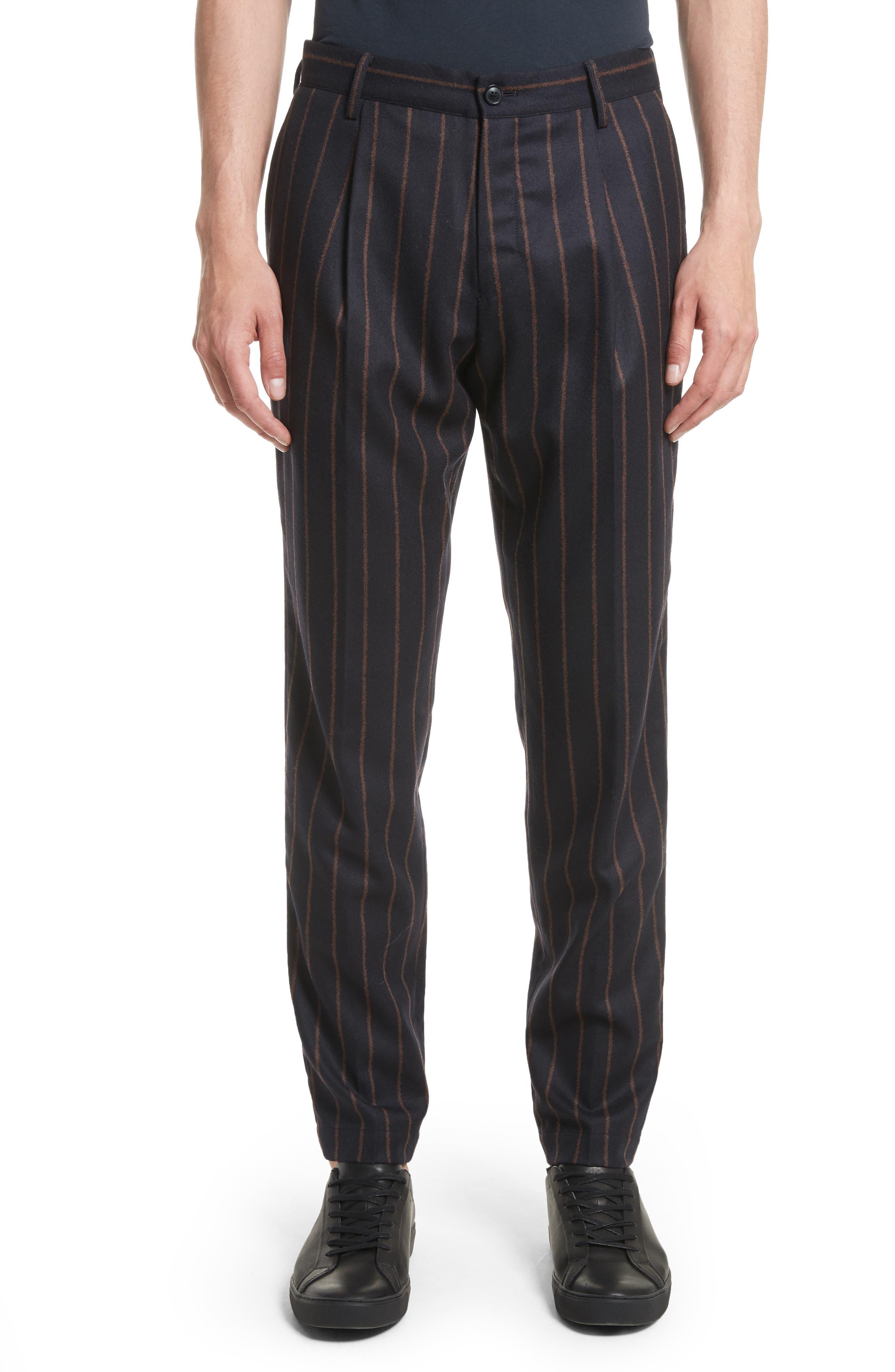 Bouclé Stripe Flannel Pants,                         Main,                         color, Blue