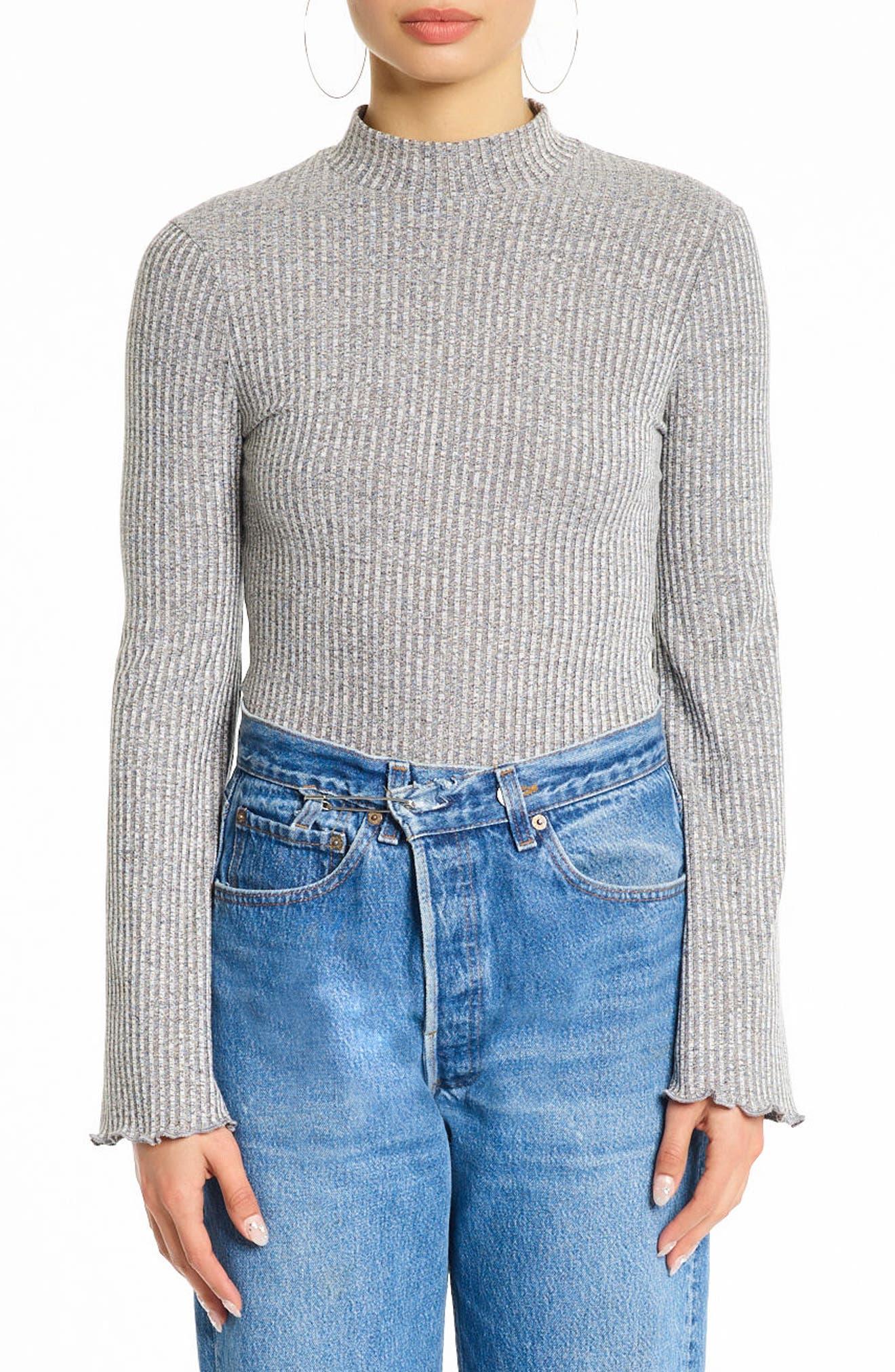 Bell Sleeve Bodysuit,                         Main,                         color, Medium Heather Grey