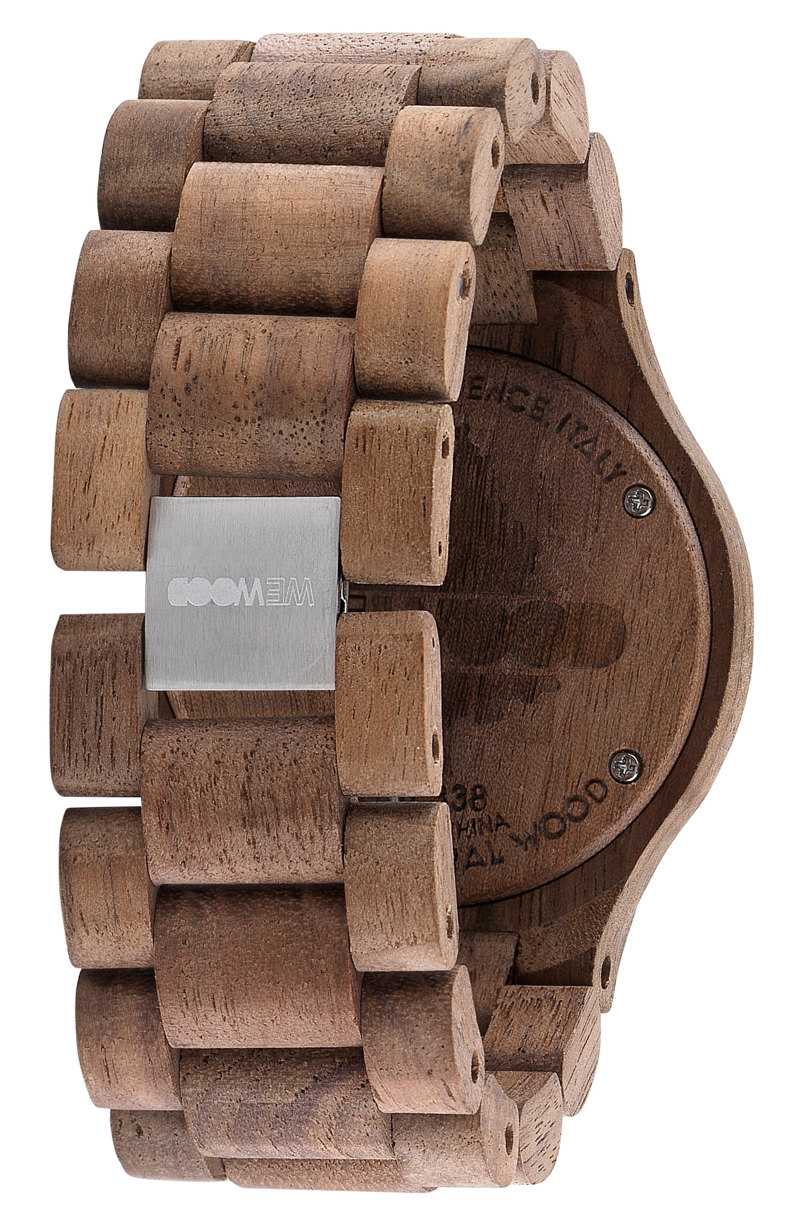Date MB Wood Bracelet Watch, 42mm,                             Alternate thumbnail 2, color,                             Brown/ Rose Gold