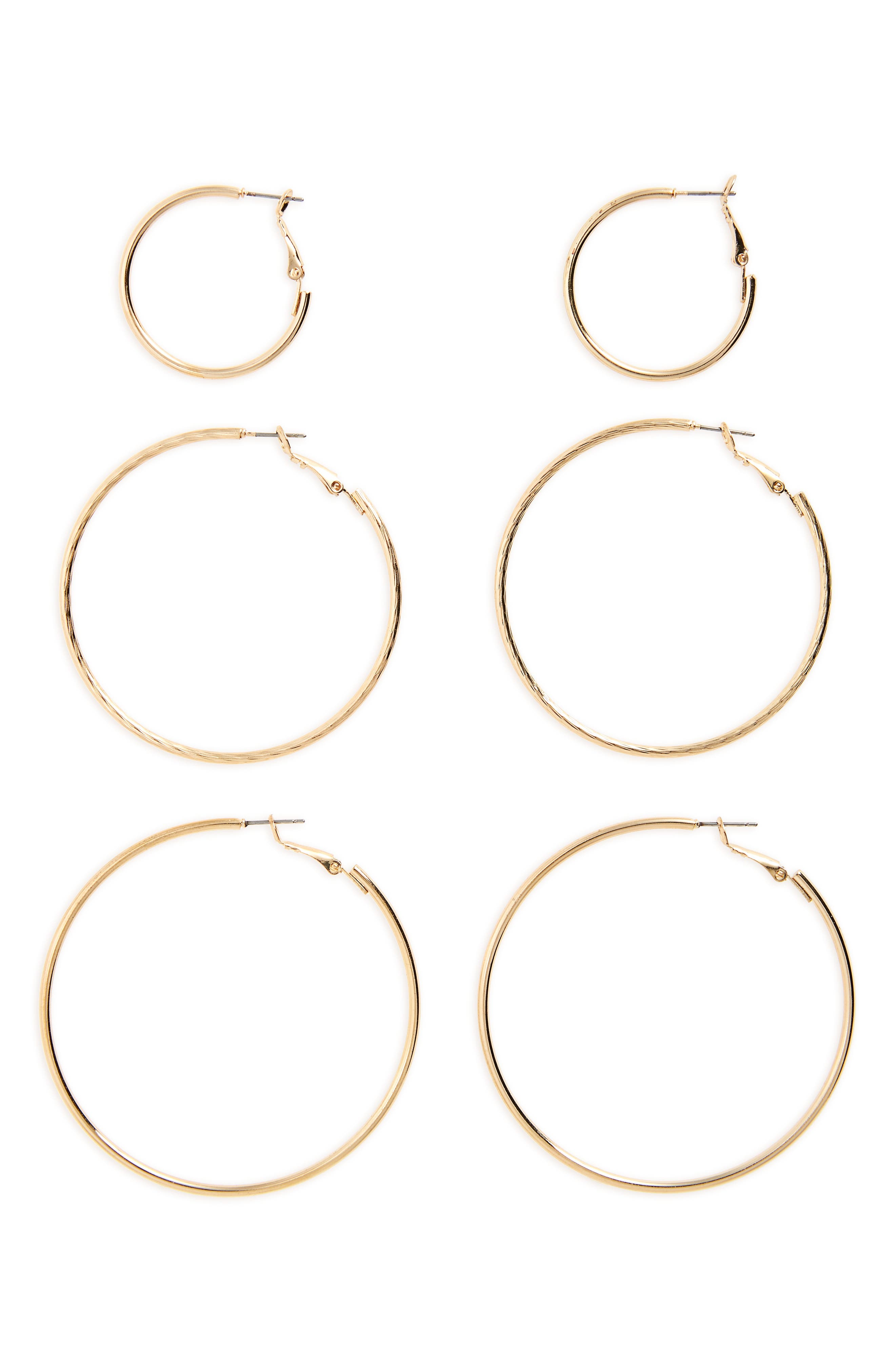 3-Pack Hoop Earrings,                         Main,                         color, Gold