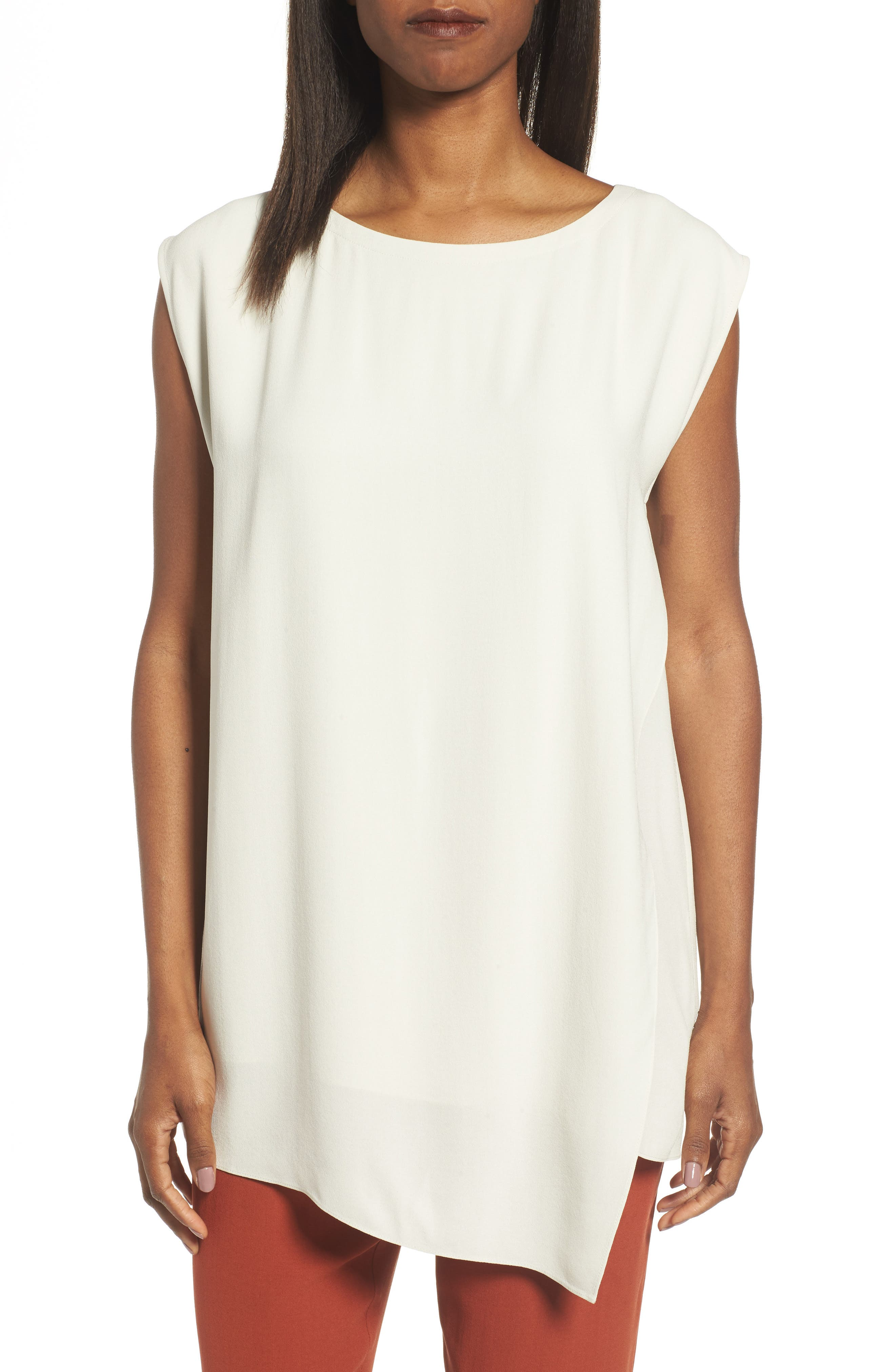Alternate Image 1 Selected - Eileen Fisher Asymmetrical Silk Tunic (Regular & Petite)