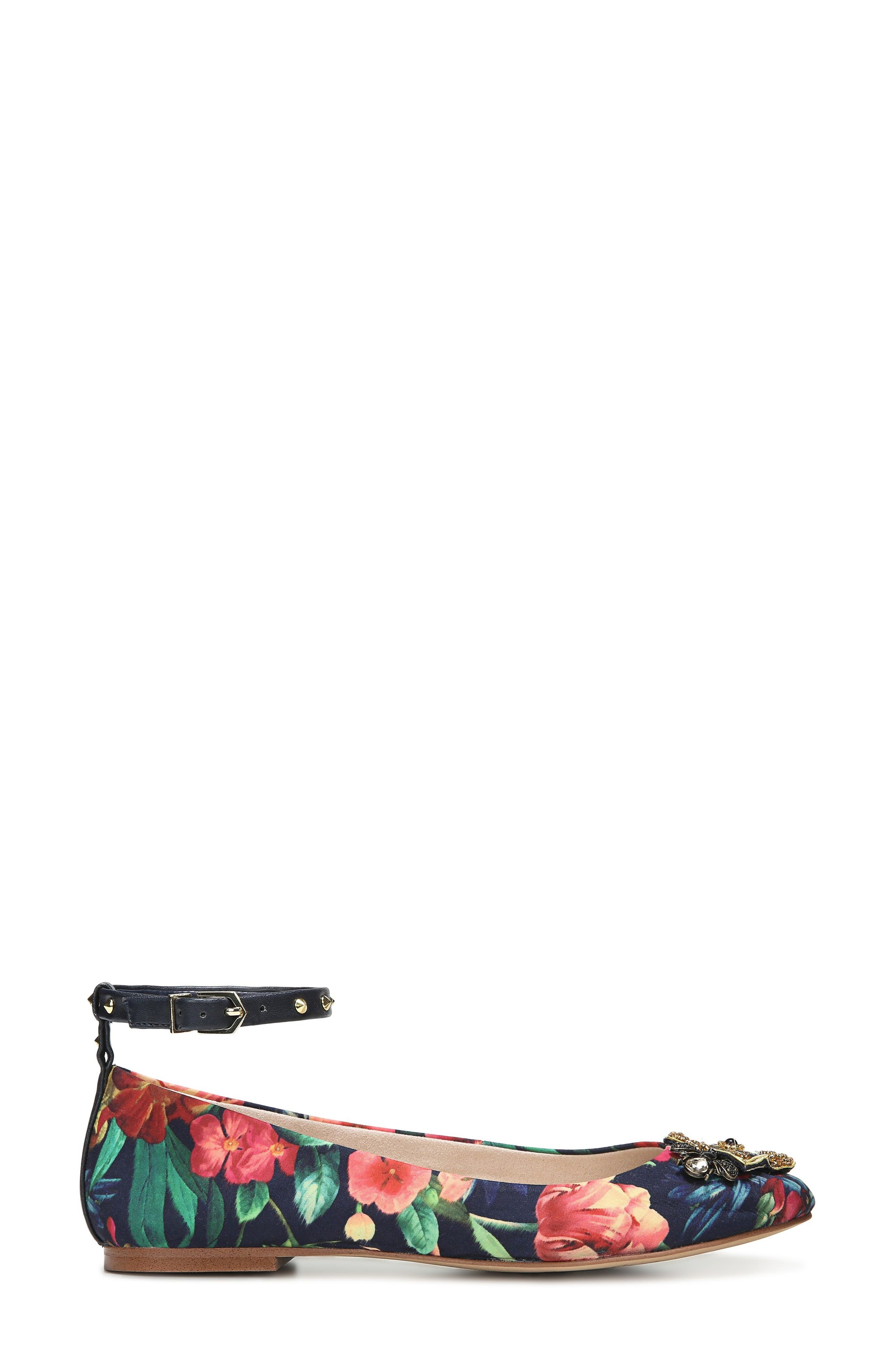 Ferrera Embellished Ankle Strap Flat,                             Alternate thumbnail 4, color,                             Navy Floral Fabric