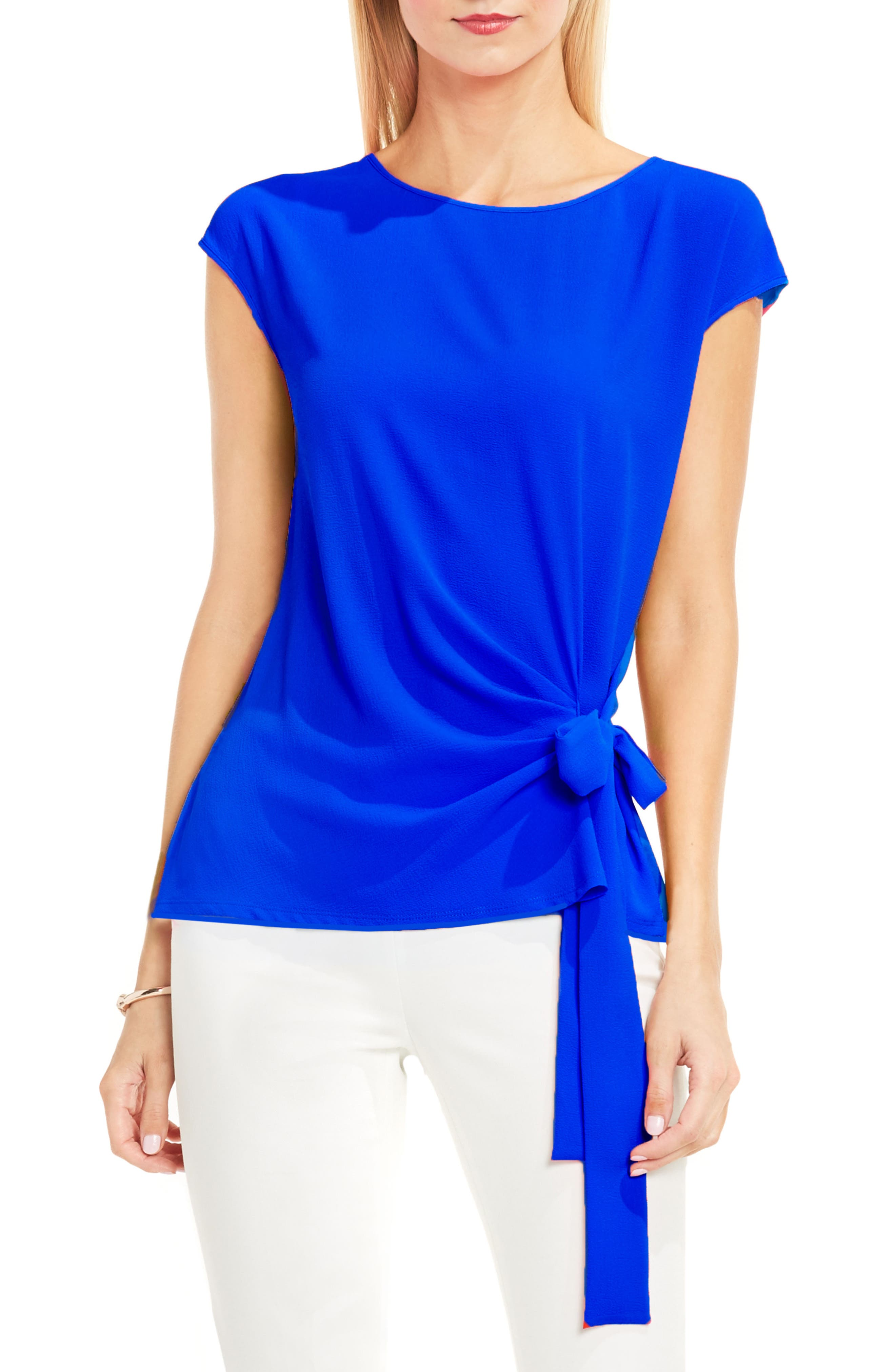 Alternate Image 1 Selected - Vince Camuto Mixed Media Tie Front Blouse (Regular & Petite)