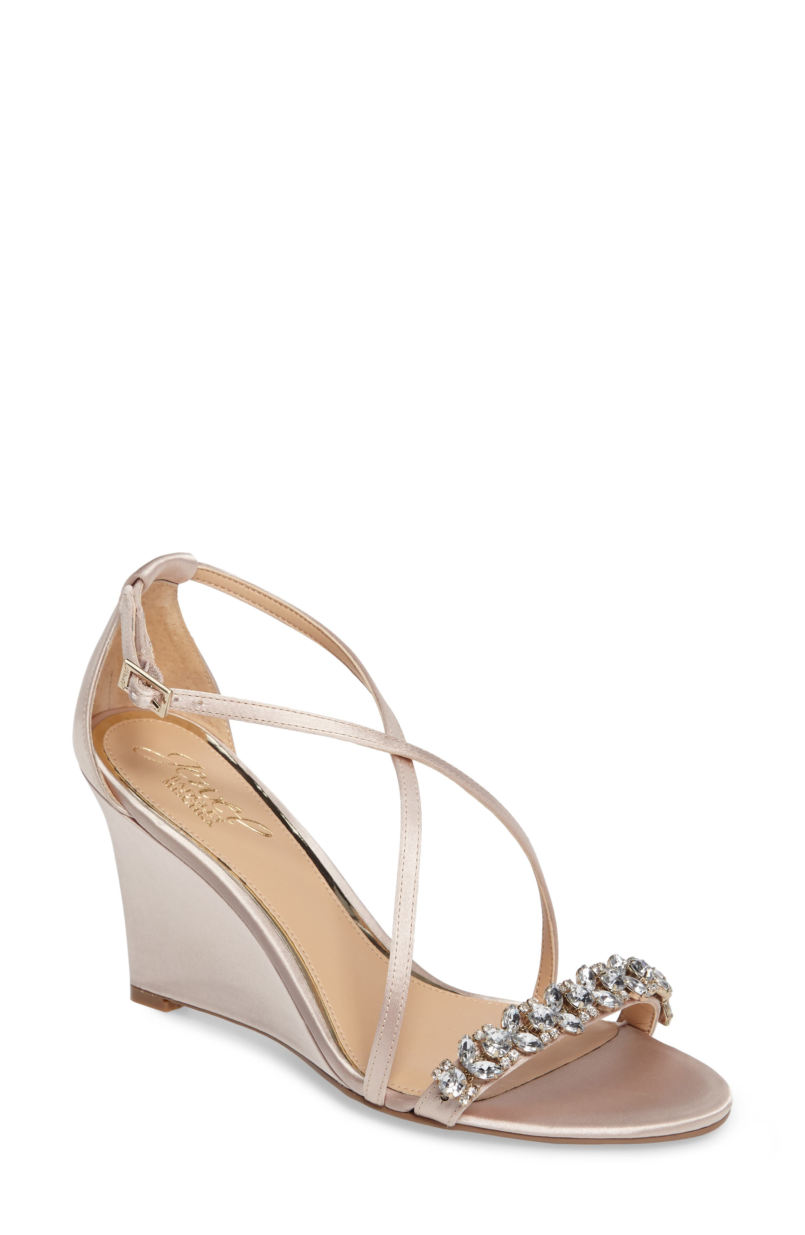 Embellished Strappy Wedge Sandal,                         Main,                         color, Champagne Satin