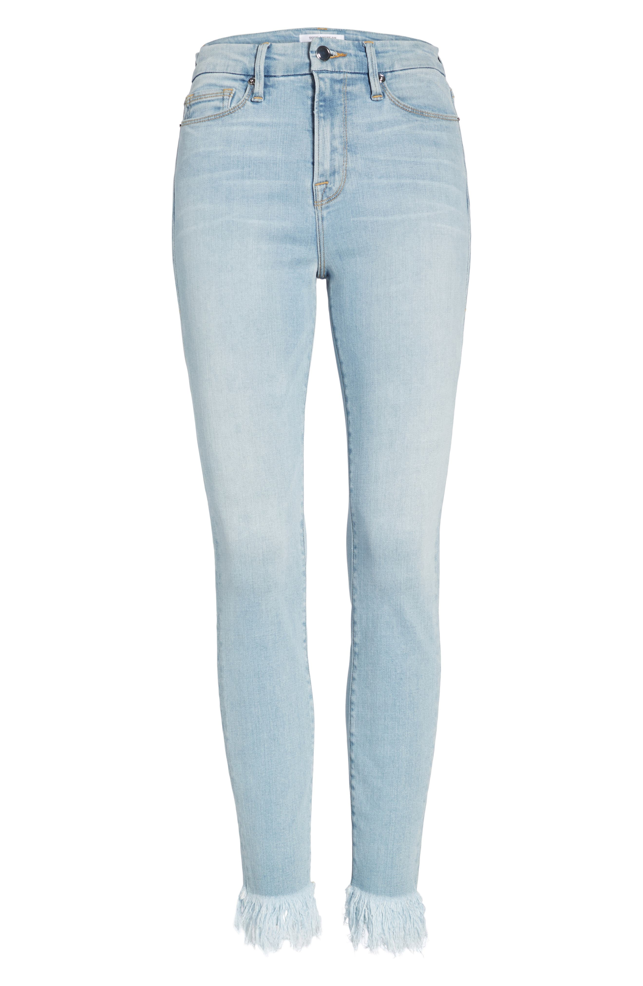 Alternate Image 6  - Good American Good Waist High Waist Frayed Ankle Skinny Jeans (Blue 054) (Extended Sizes)