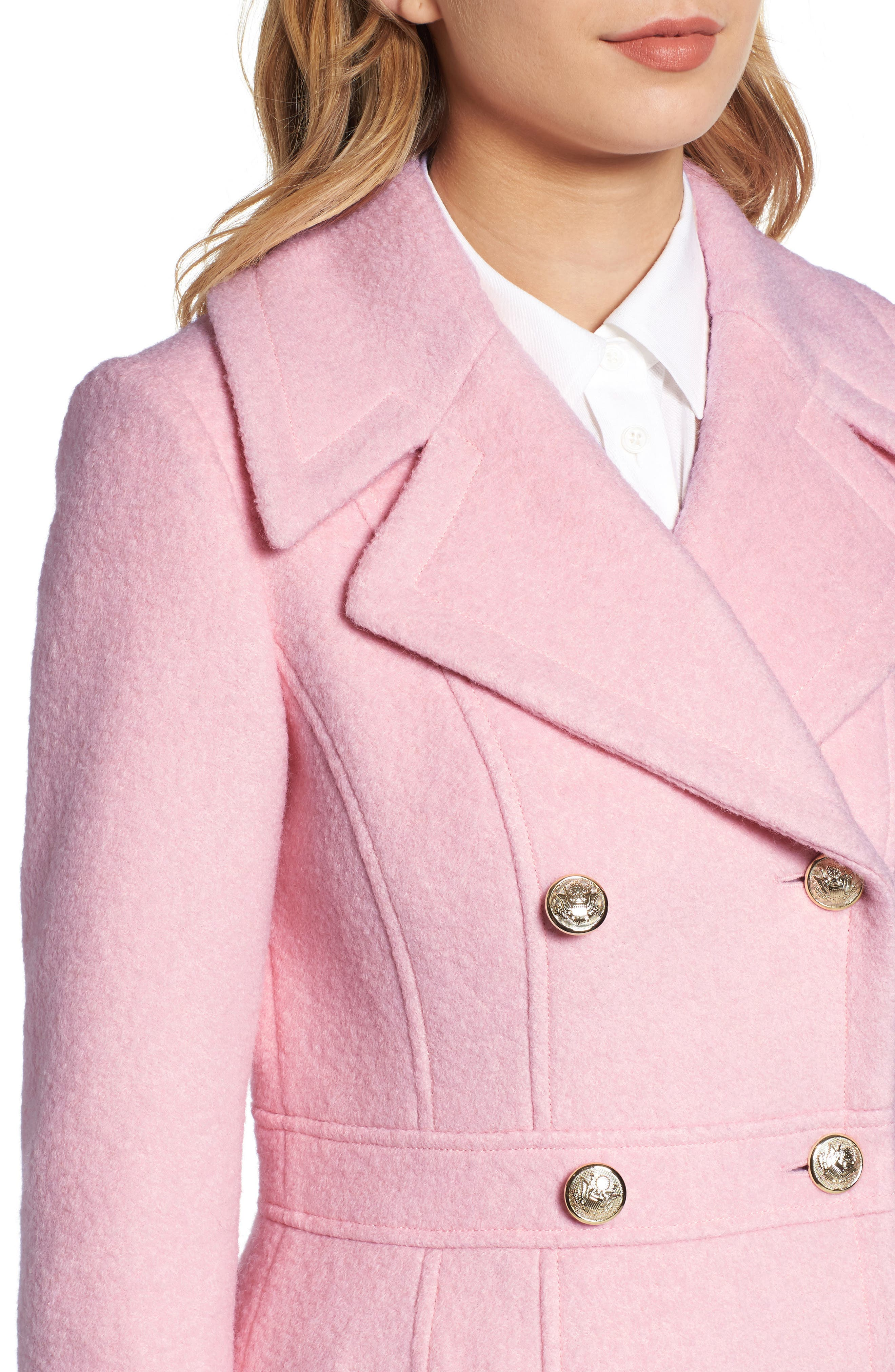 Double Breasted Wool Blend Coat,                             Alternate thumbnail 4, color,                             Pale Pink