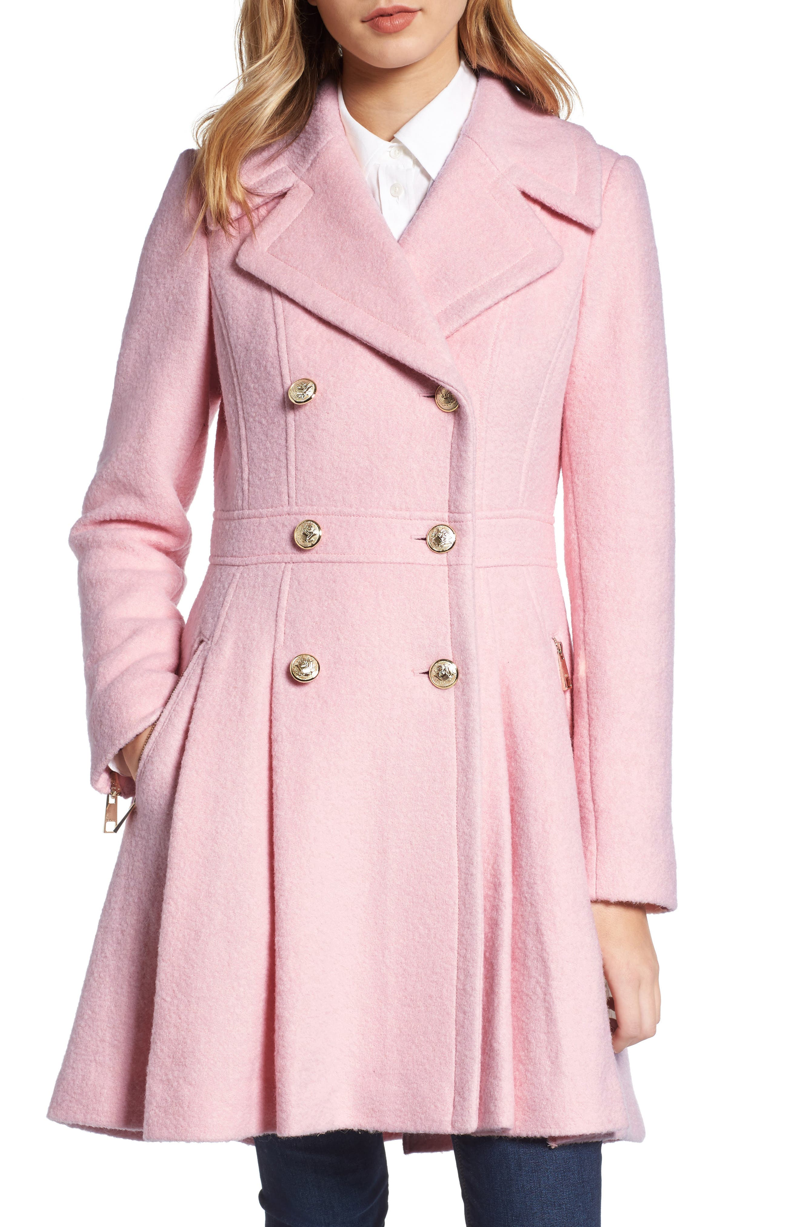 Double Breasted Wool Blend Coat,                         Main,                         color, Pale Pink