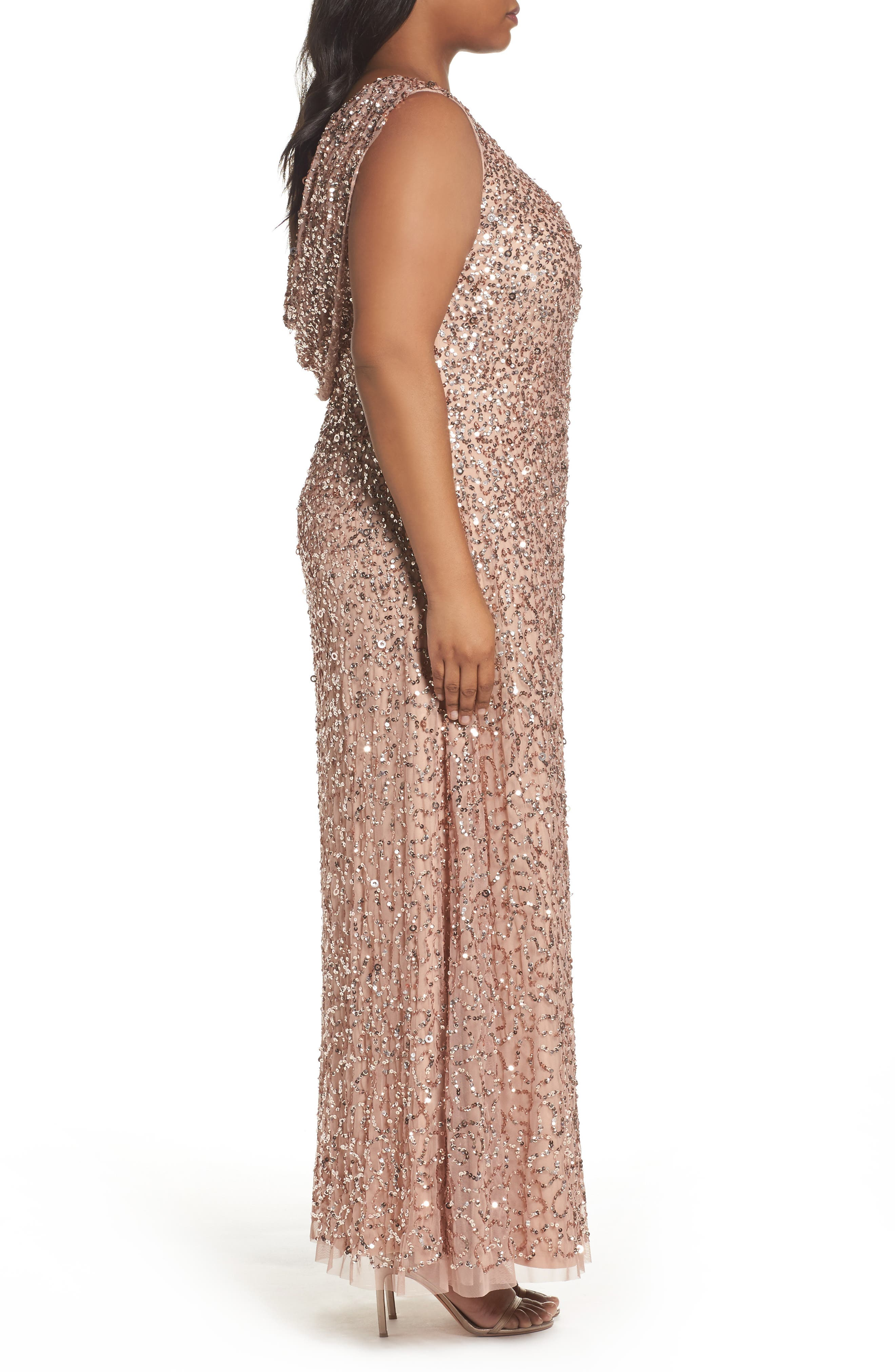Sequin Cowl Back Gown,                             Alternate thumbnail 3, color,                             Rose Gold