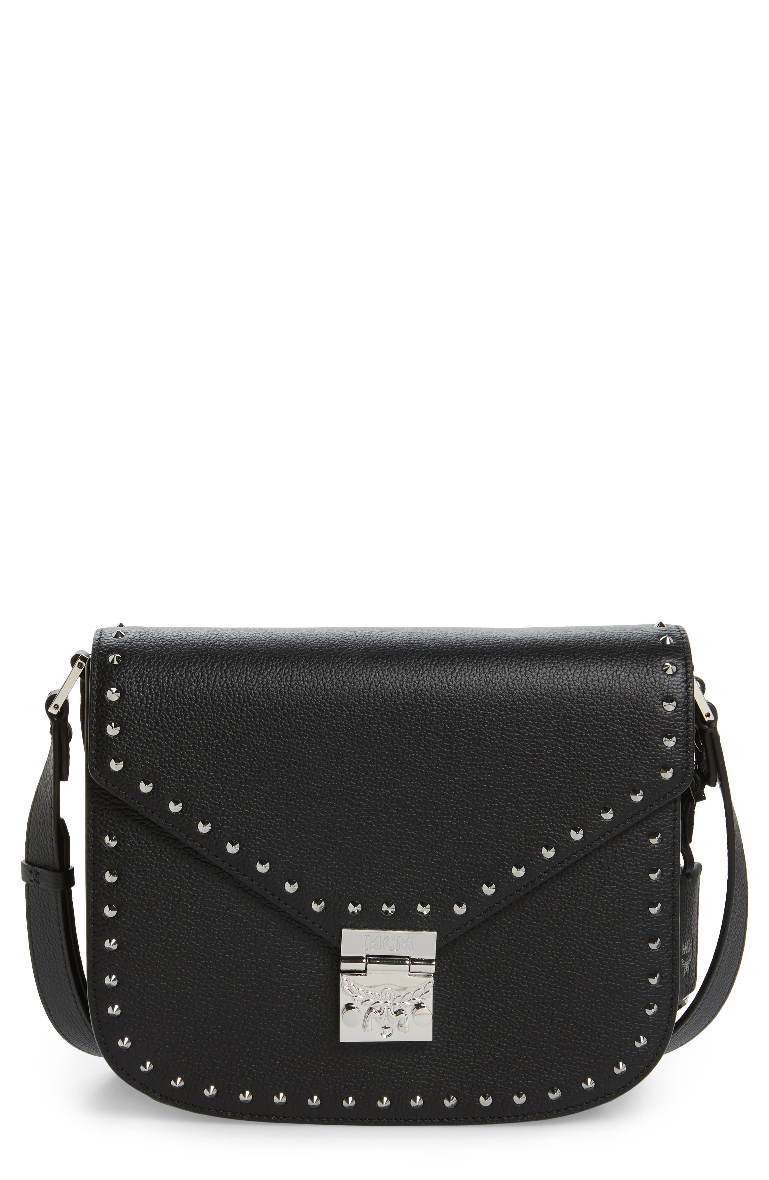 Patricia Studded Outline Leather Shoulder Bag,                             Main thumbnail 1, color,                             Black