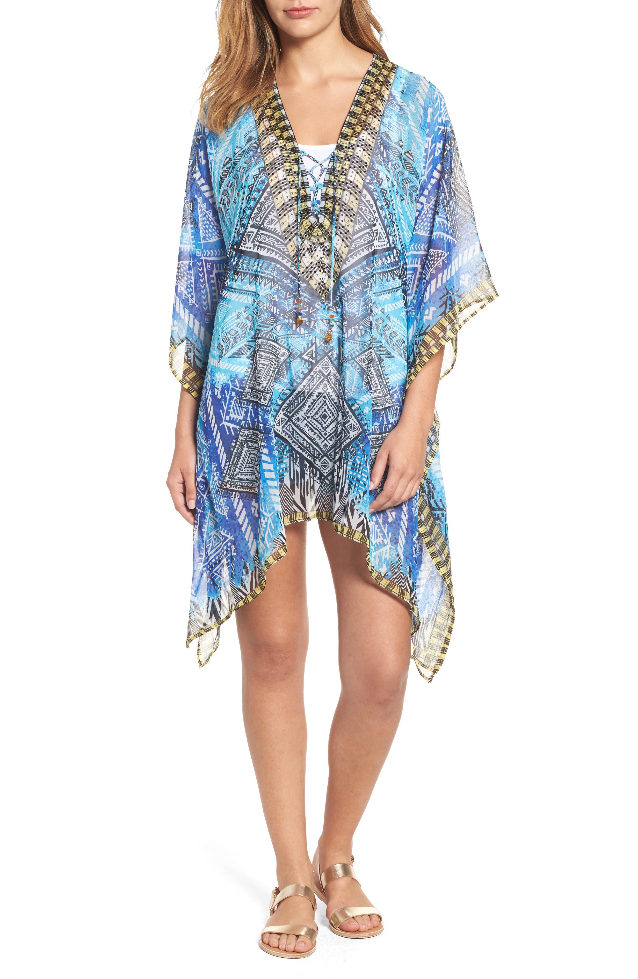 'Fiji' Short Kaftan,                         Main,                         color, Blue Multi