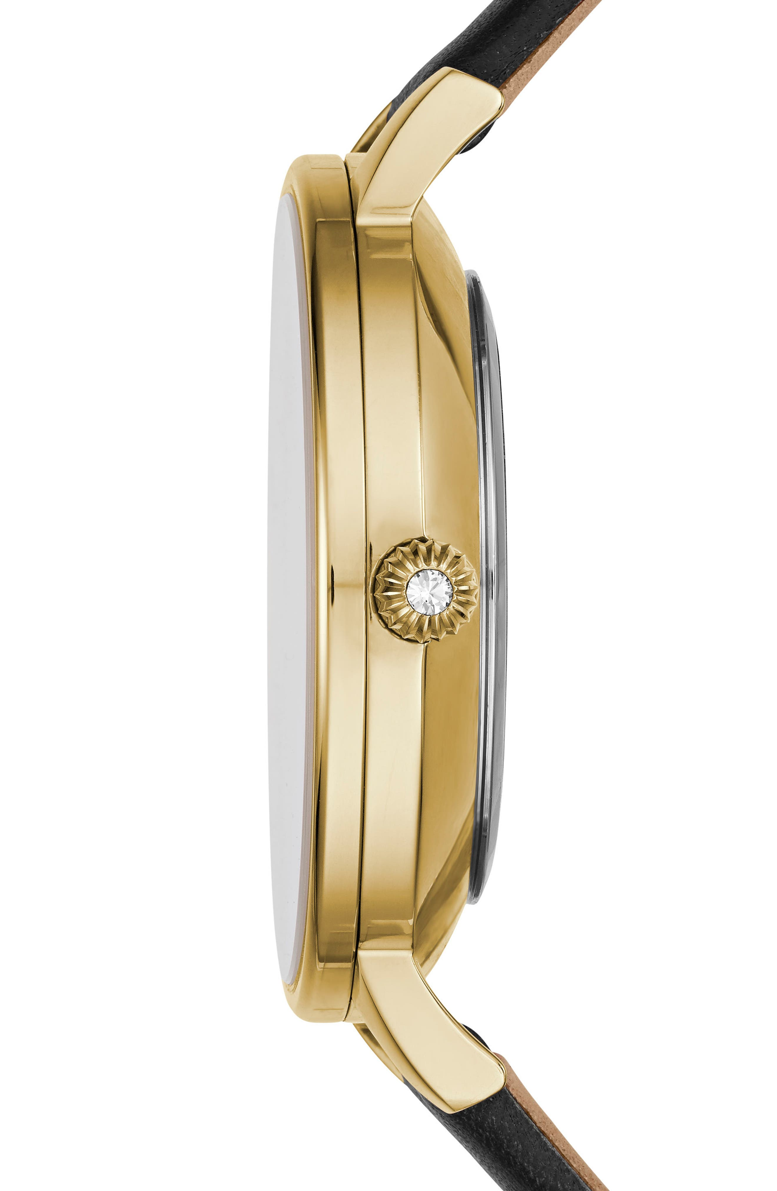 Kate Leather Strap watch, 38mm,                             Alternate thumbnail 3, color,                             Black/ Mother Of Pearl/ Gold