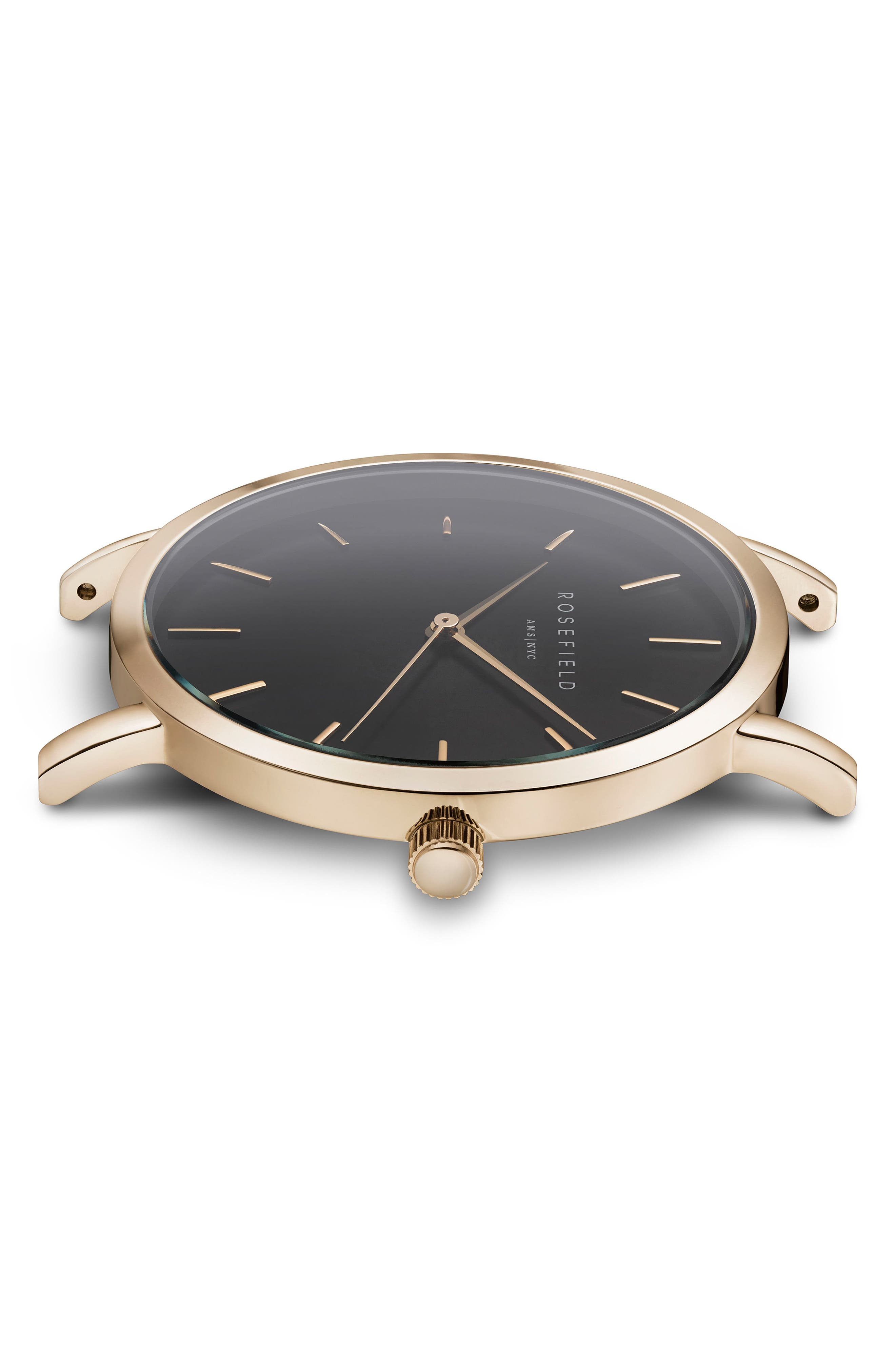 Gramercy Leather Strap Watch, 38mm,                             Alternate thumbnail 3, color,                             Black/ Gold