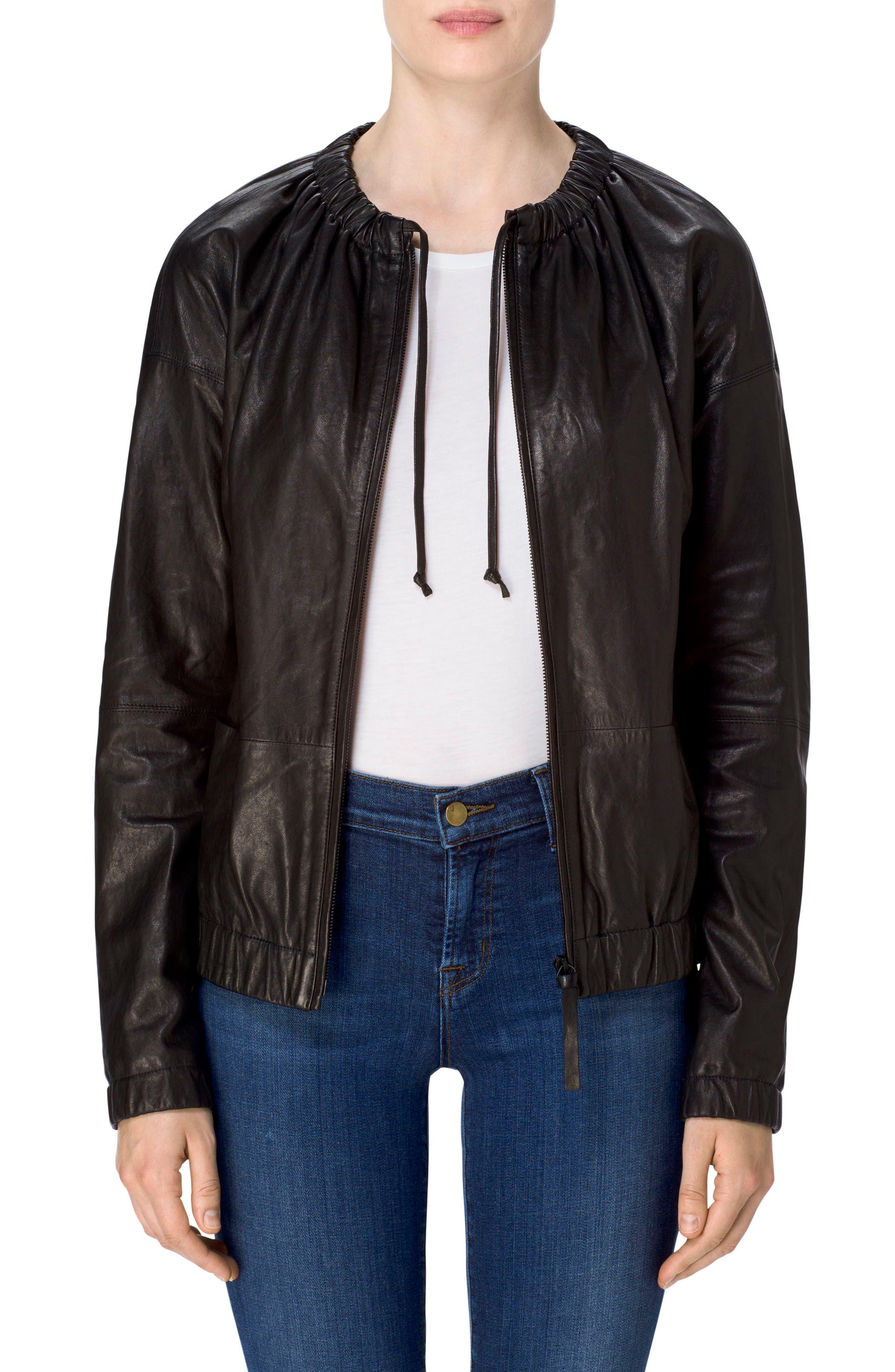 Baez Leather Bomber Jacket,                             Main thumbnail 1, color,                             Black
