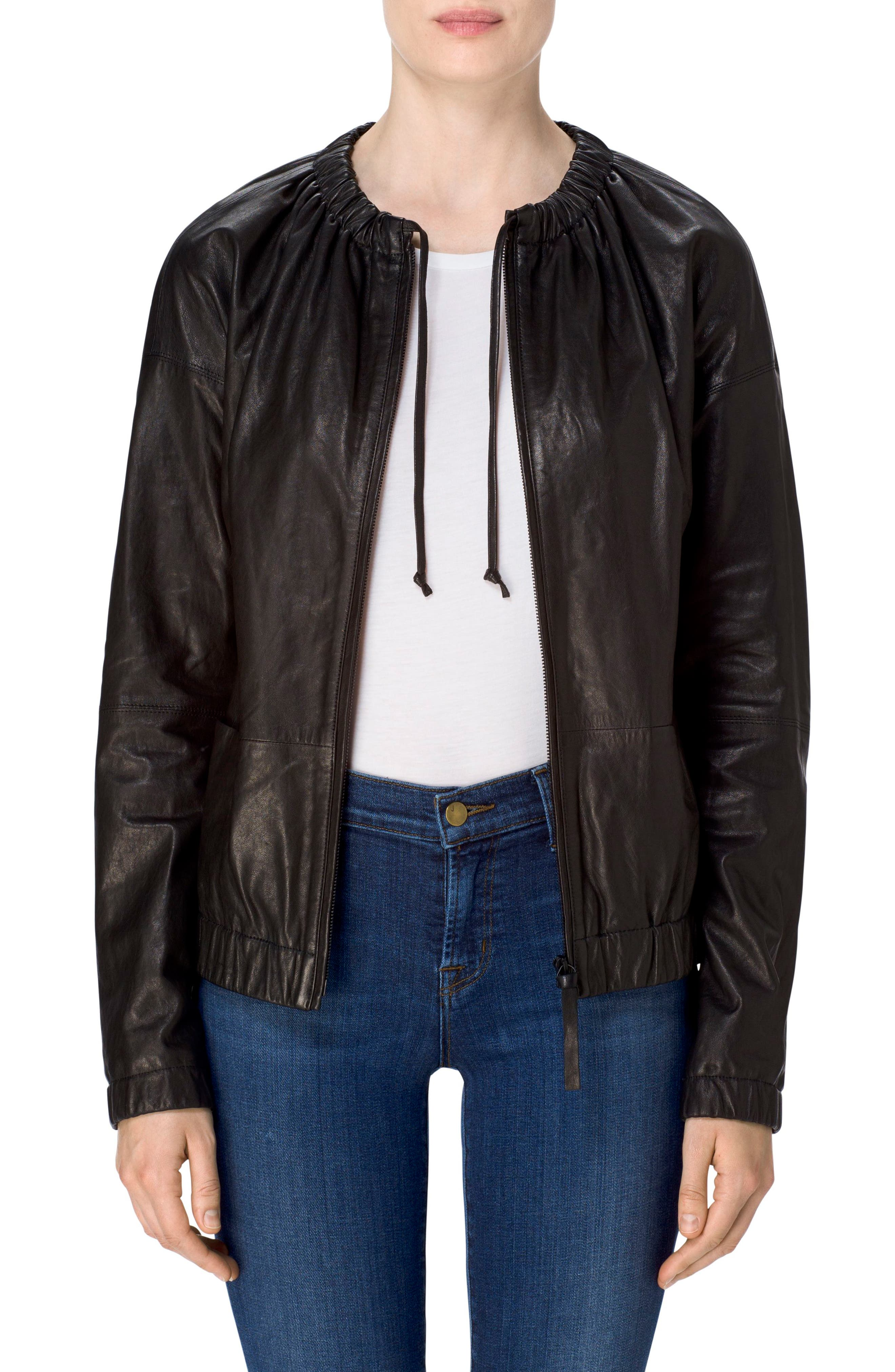Baez Leather Bomber Jacket,                         Main,                         color, Black