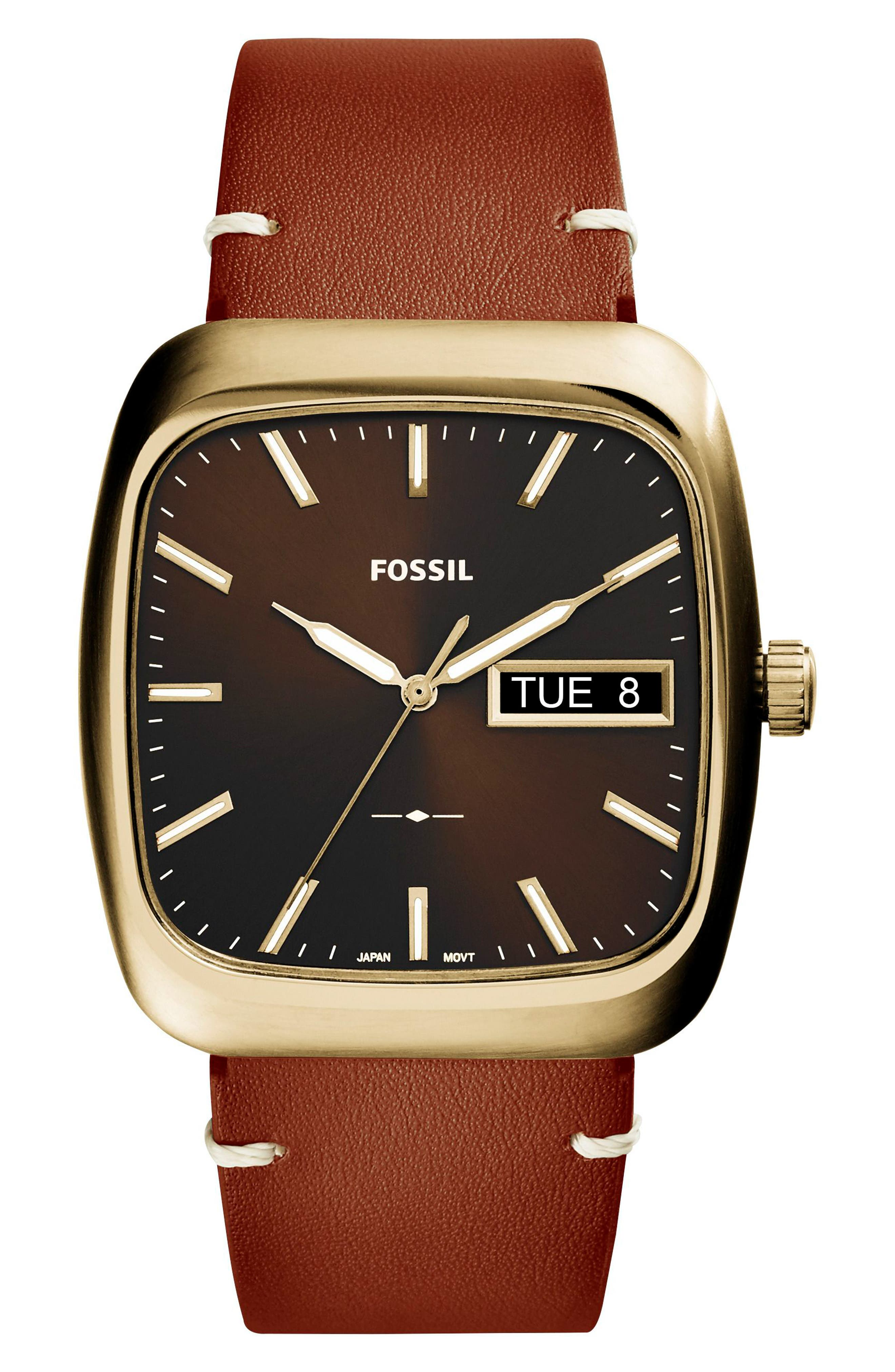 Rutherford Leather Strap Watch, 41mm,                         Main,                         color, Brown/ Black/ Gold