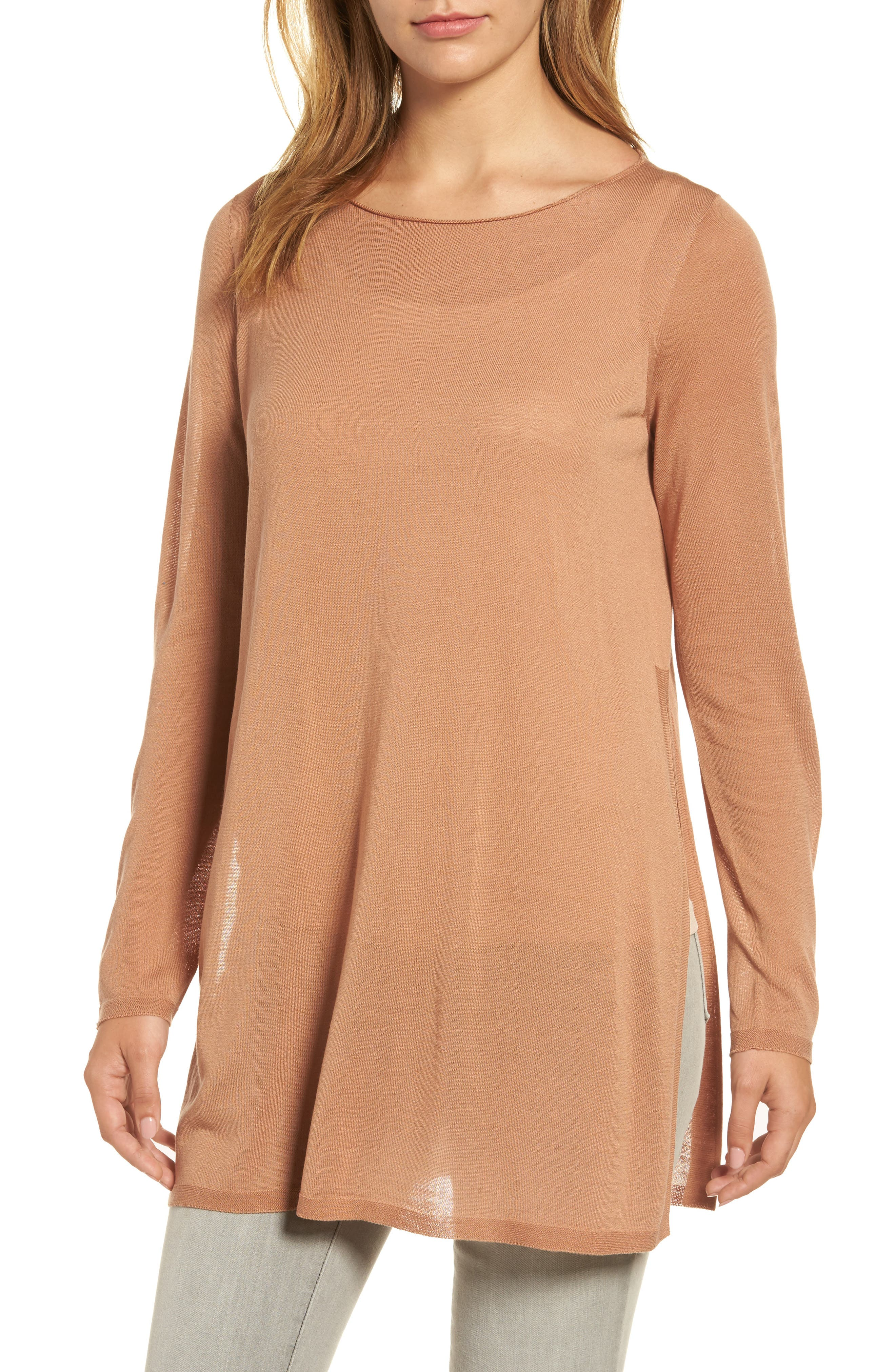Alternate Image 1 Selected - Eileen Fisher Side Slit Tencel® Tunic