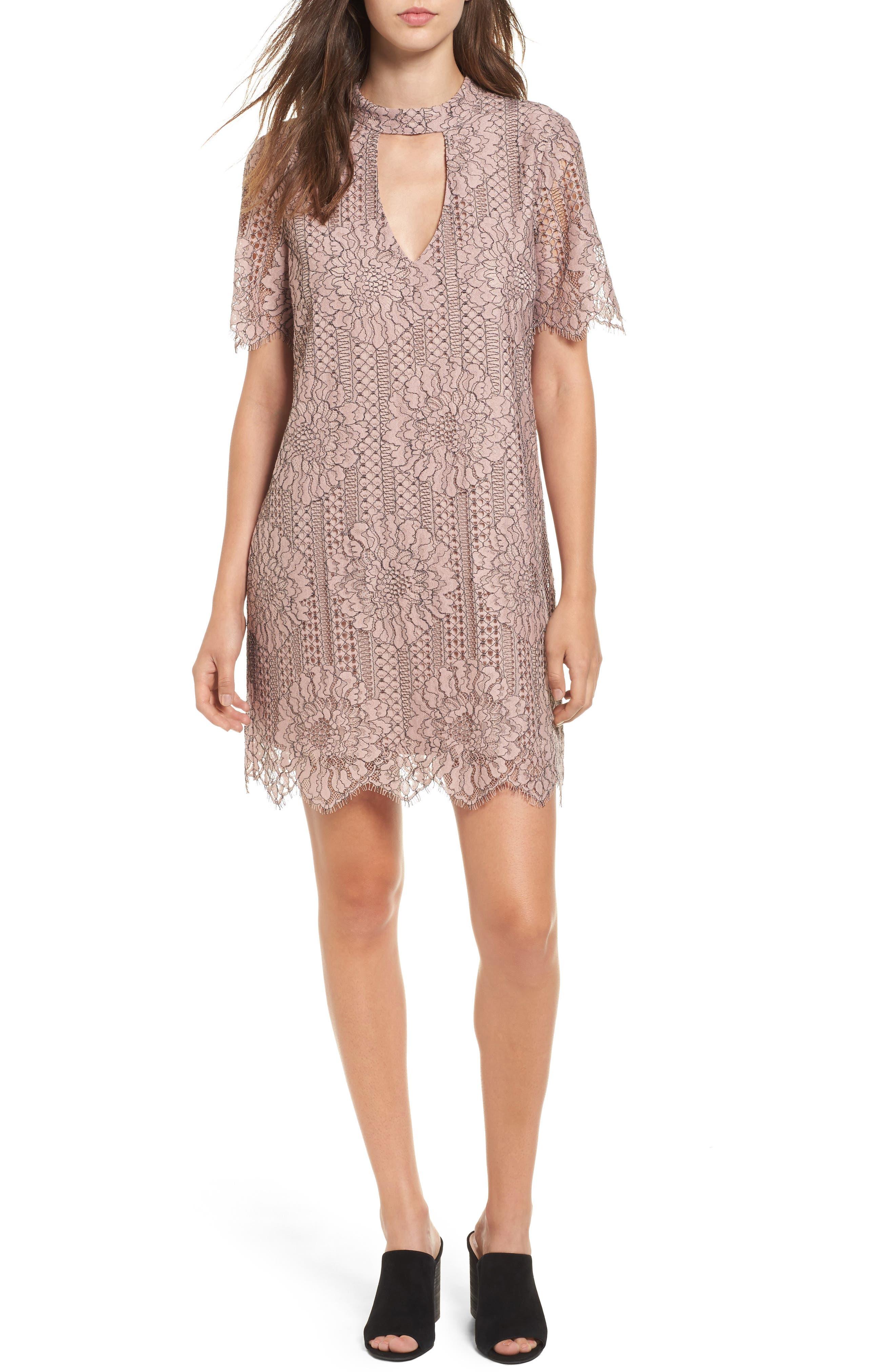 Socialite Choker Lace Shift Dress