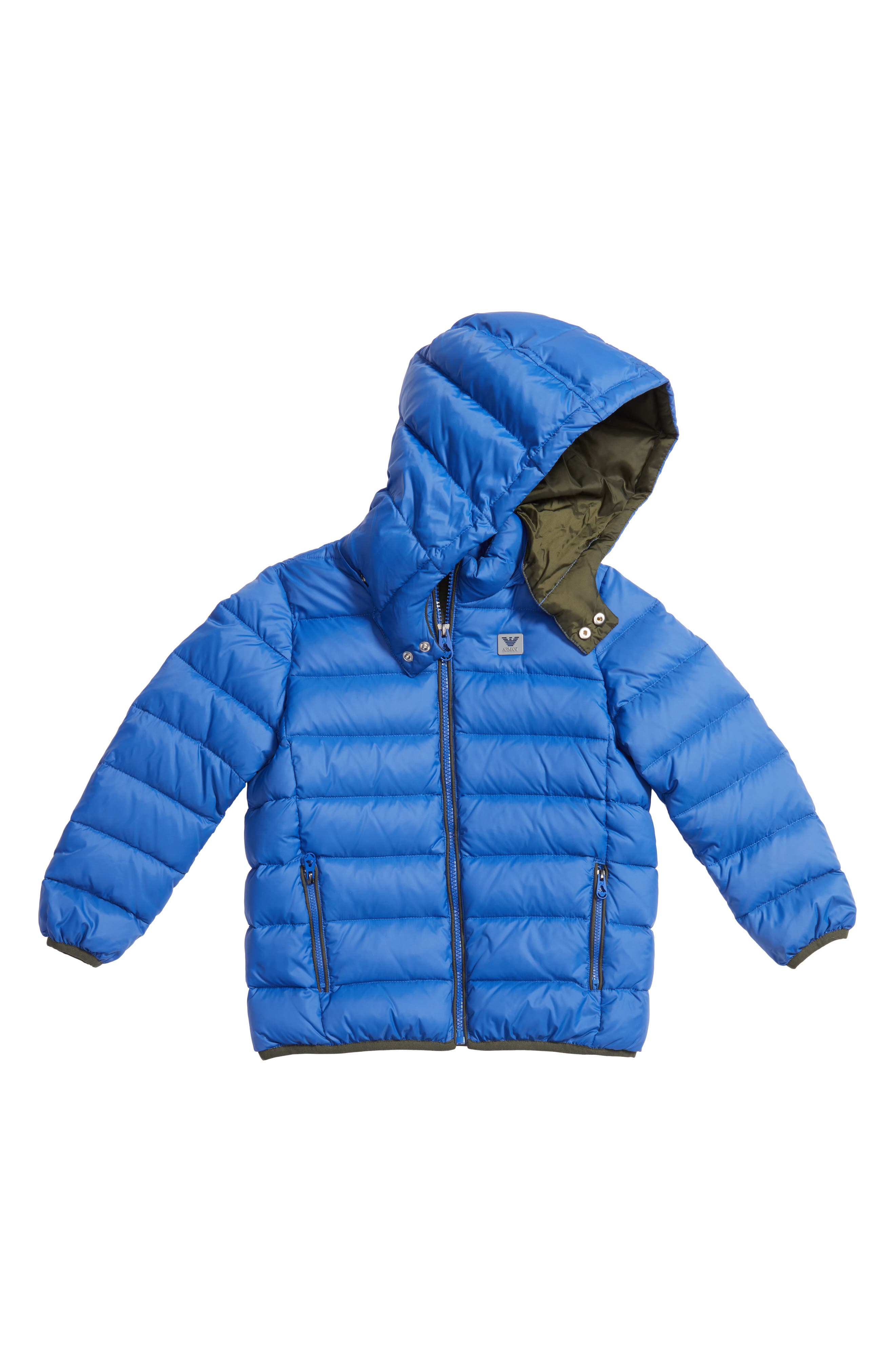 Water Resistant Hooded Down Jacket,                         Main,                         color, Blue