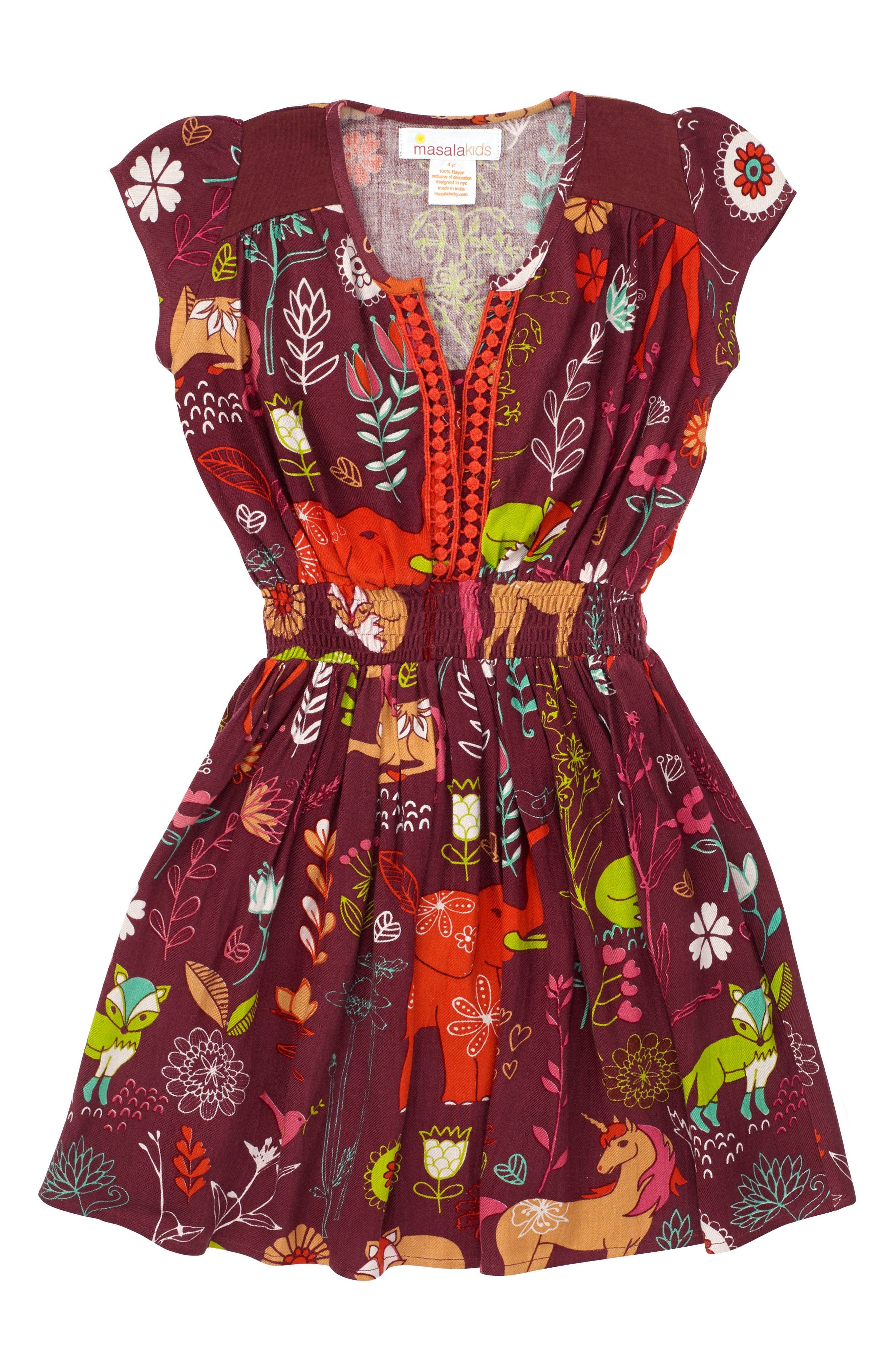 Magical Forest Dress,                         Main,                         color, Burgundy