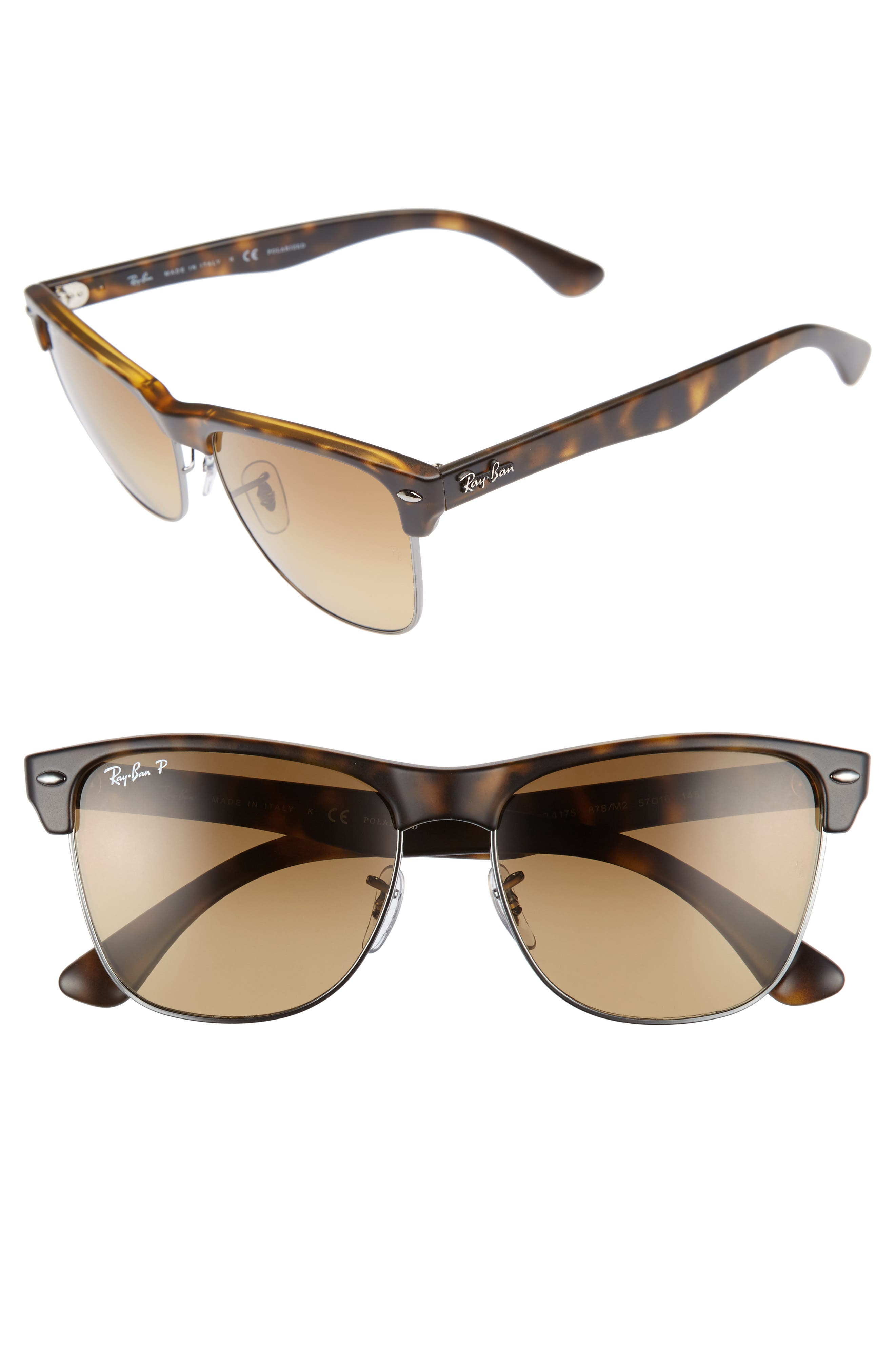 Ray-Ban Clubmaster Flash 57mm Polarized Sunglasses