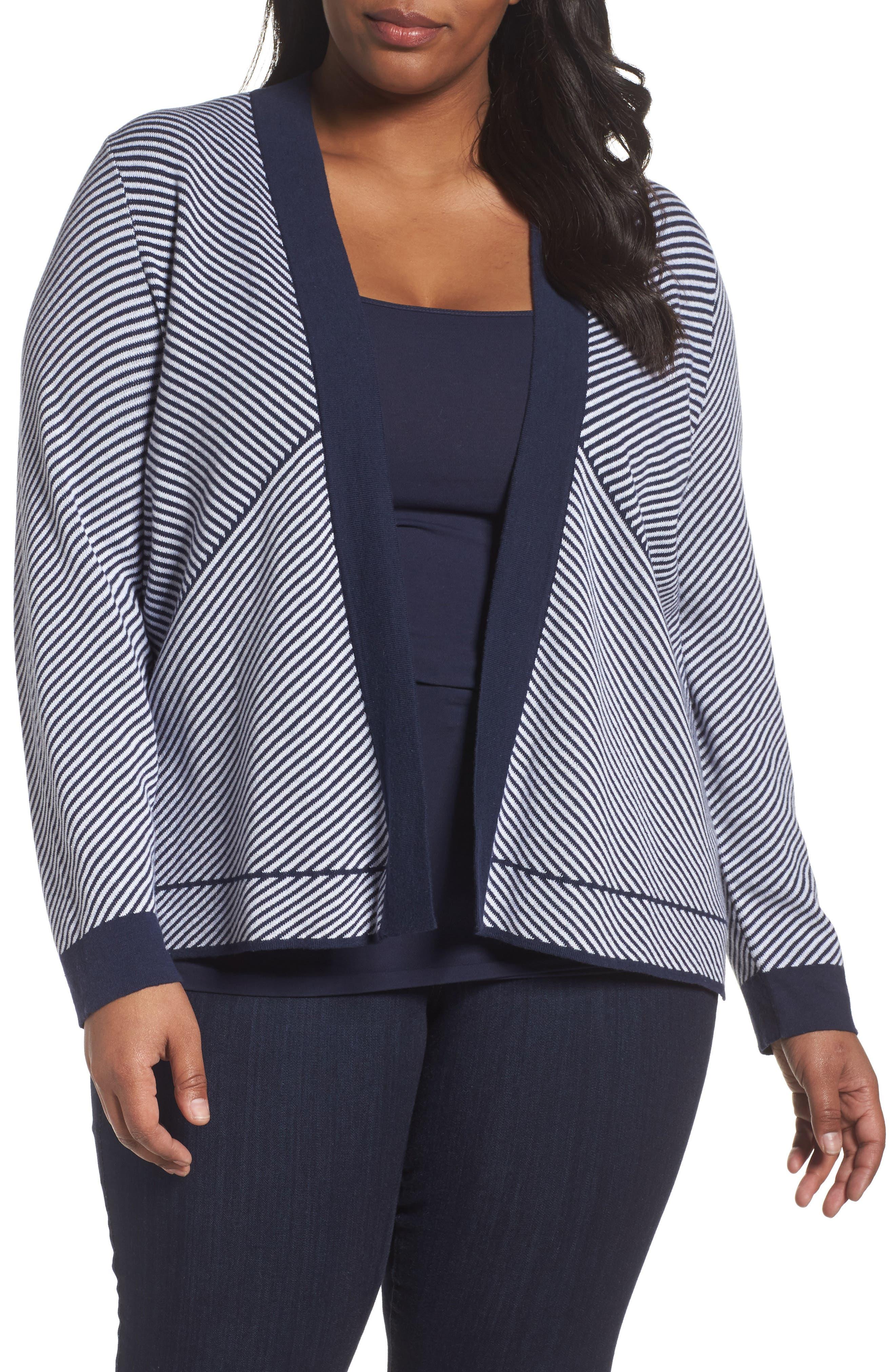 Foxcroft Daphne Stripe Knit Jacquard Jacket (Plus Size)