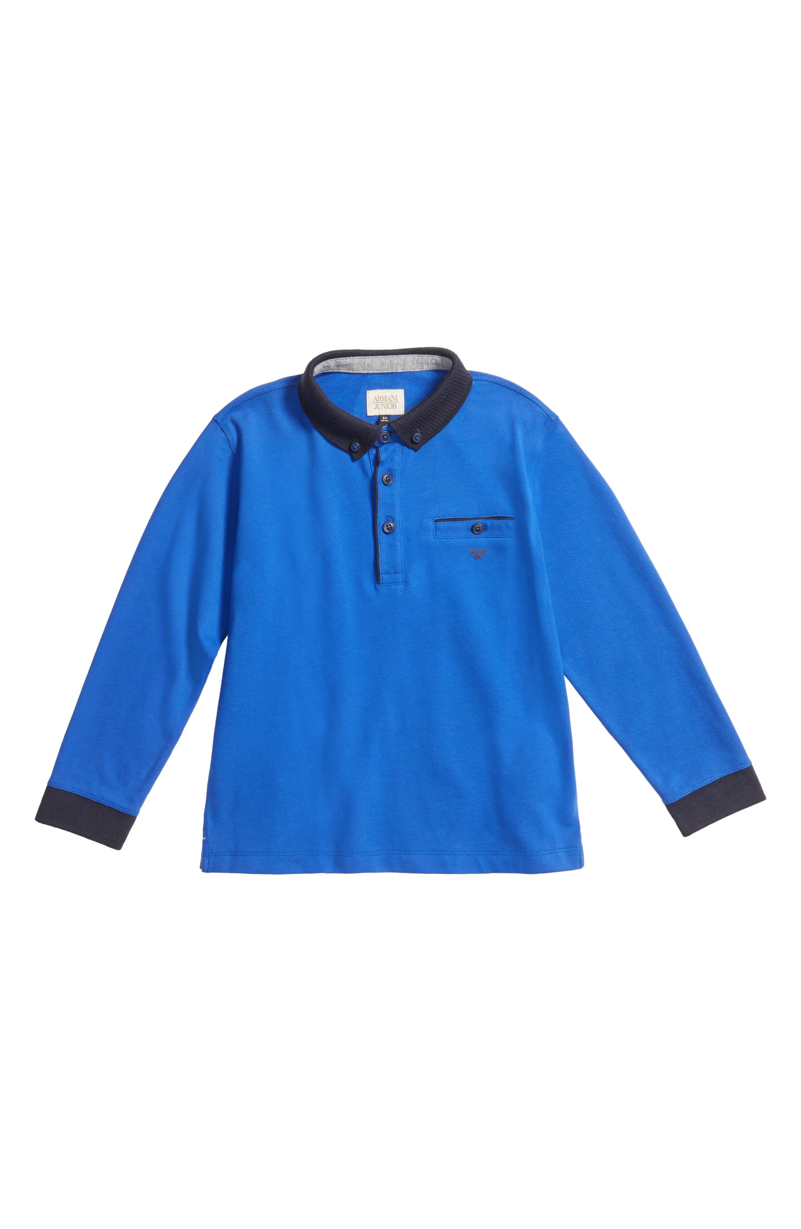 Armani Junior Long Sleeve Polo (Little Boys & Big Boys)