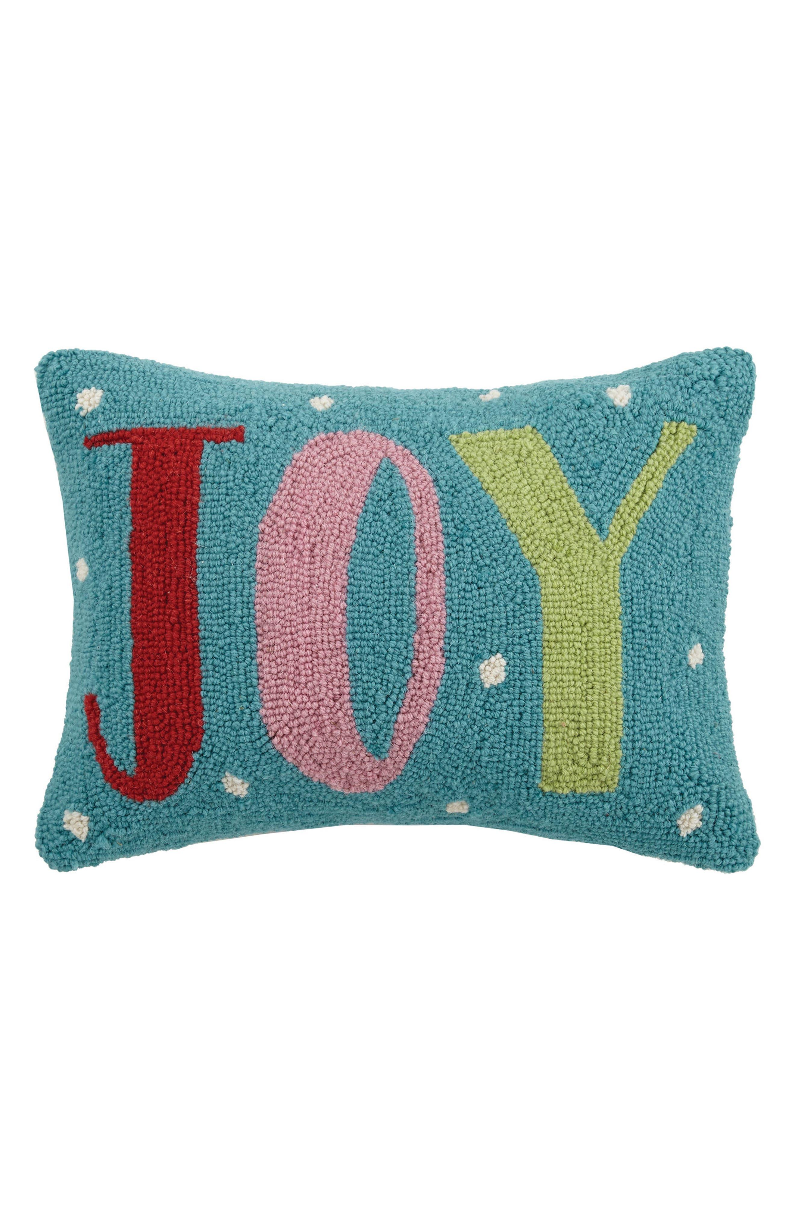Joy Hooked Accent Pillow,                         Main,                         color, Blue