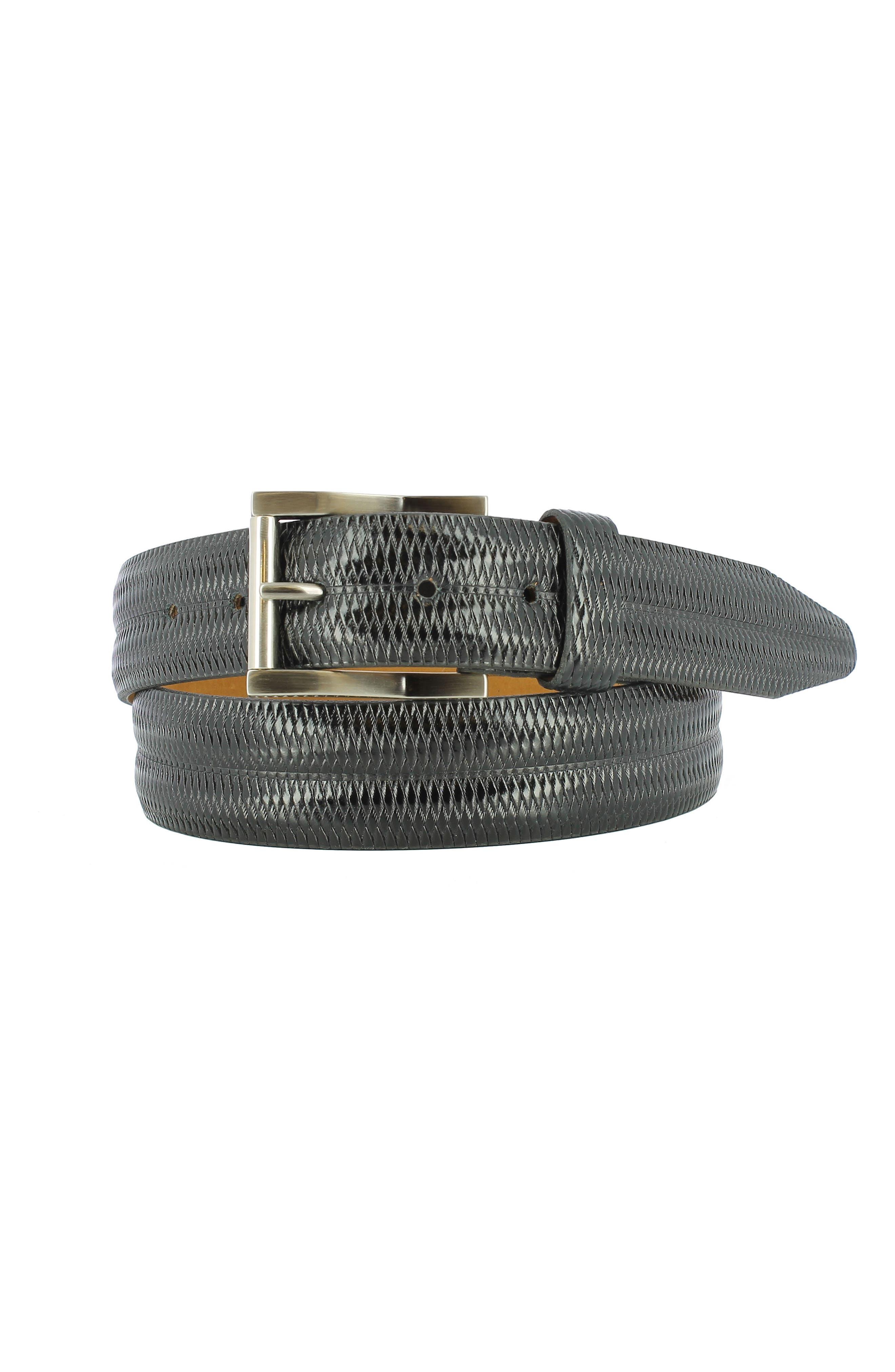 Lux Leather Belt,                             Main thumbnail 1, color,                             Black