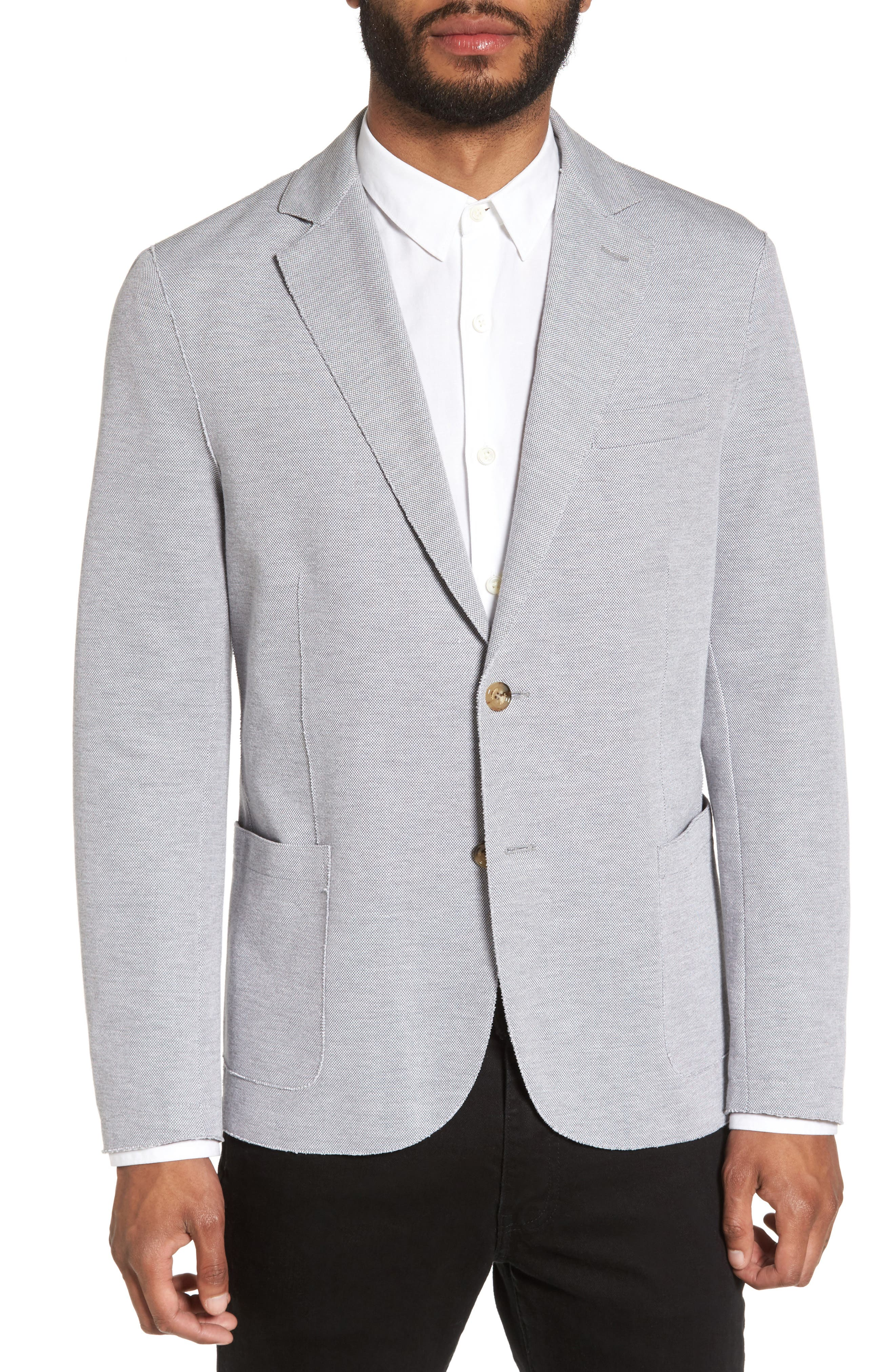 Trim Fit Jersey Blazer,                             Main thumbnail 1, color,                             Grey