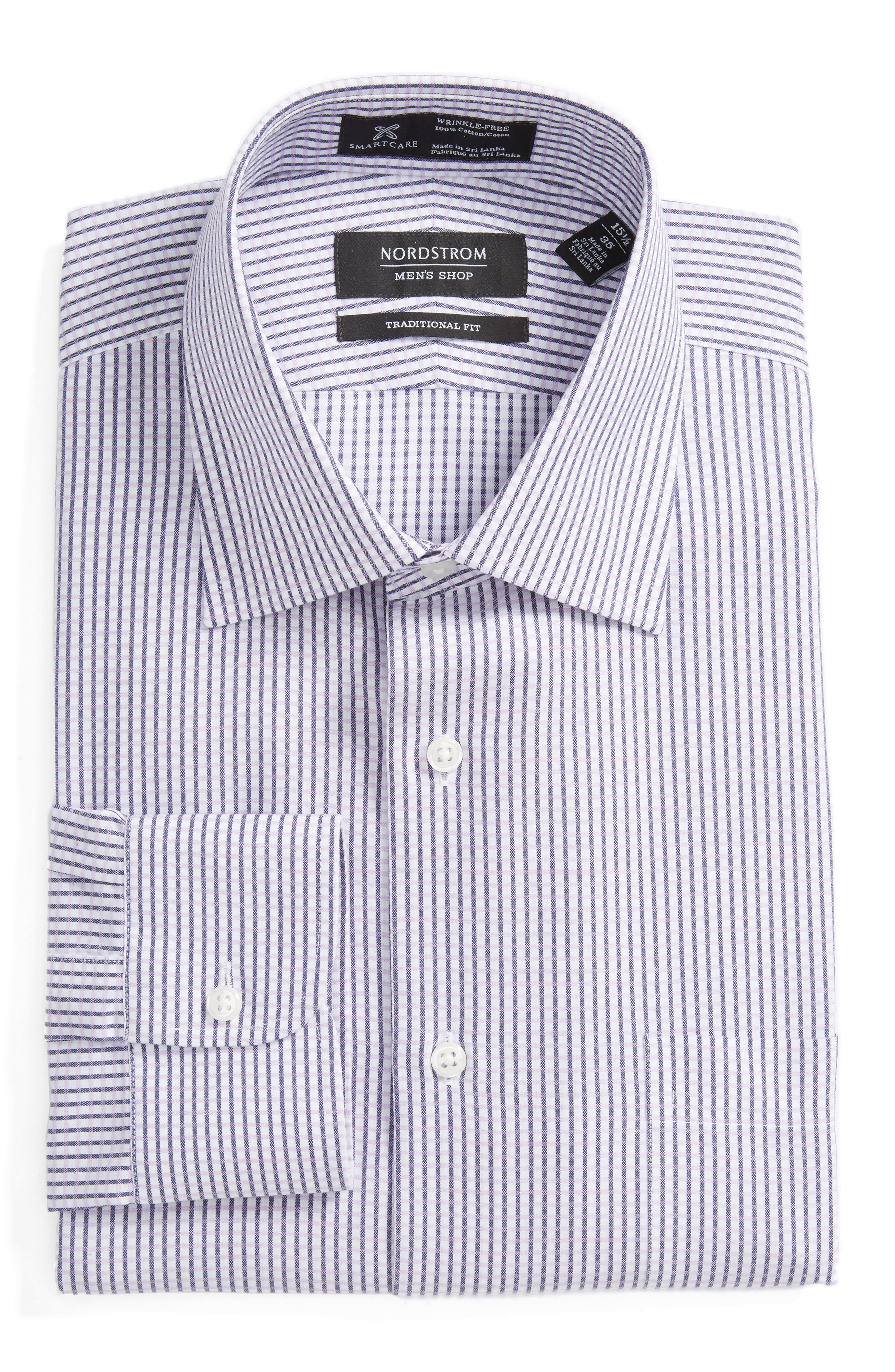 Smartcare<sup>™</sup> Traditional Fit Check Dress Shirt,                         Main,                         color, Purple Spray
