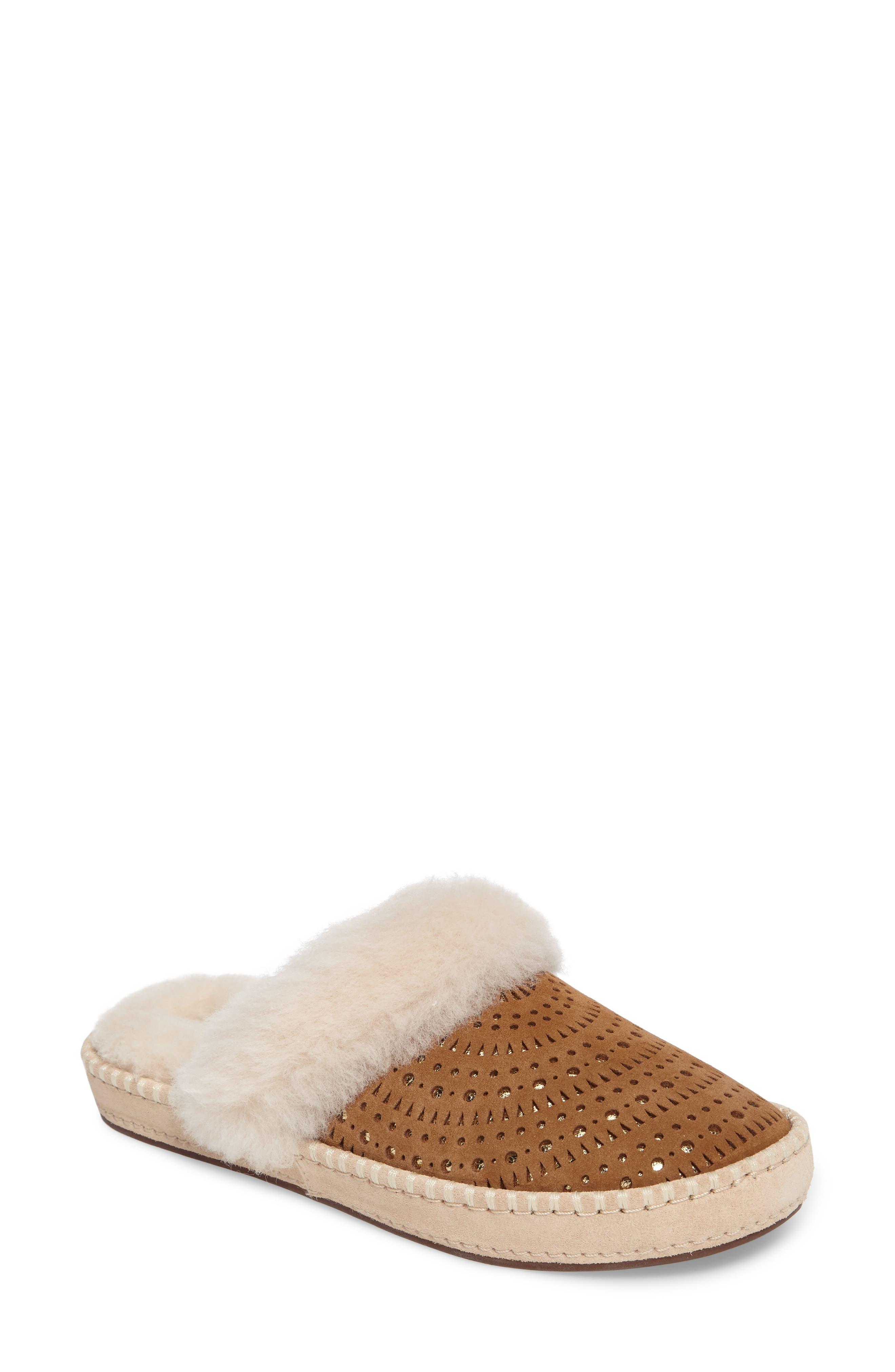Aira Sunshine Genuine Shearling Slipper,                         Main,                         color, Chestnut Suede