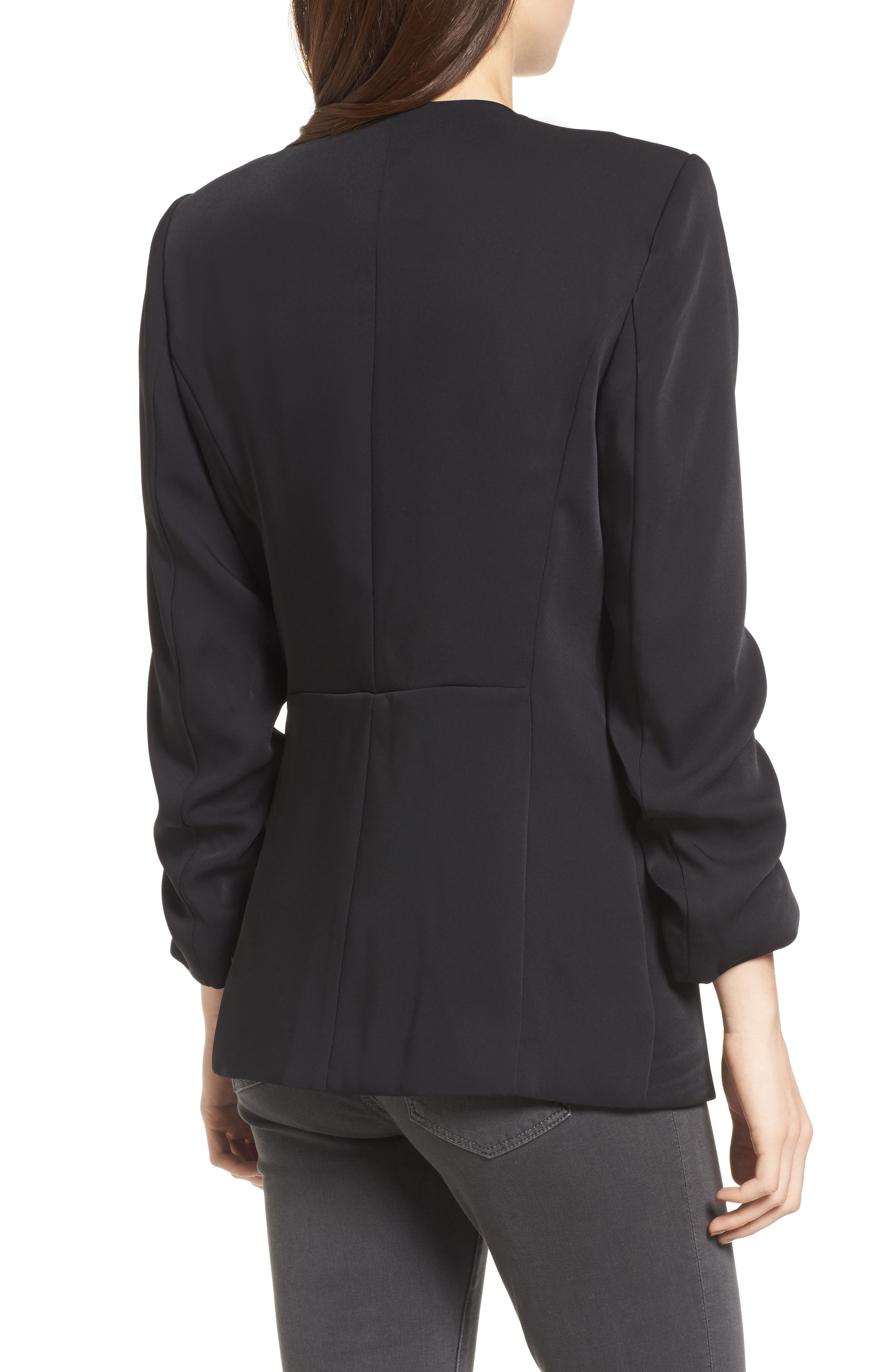 Ruched Sleeve Blazer,                             Alternate thumbnail 2, color,                             Black