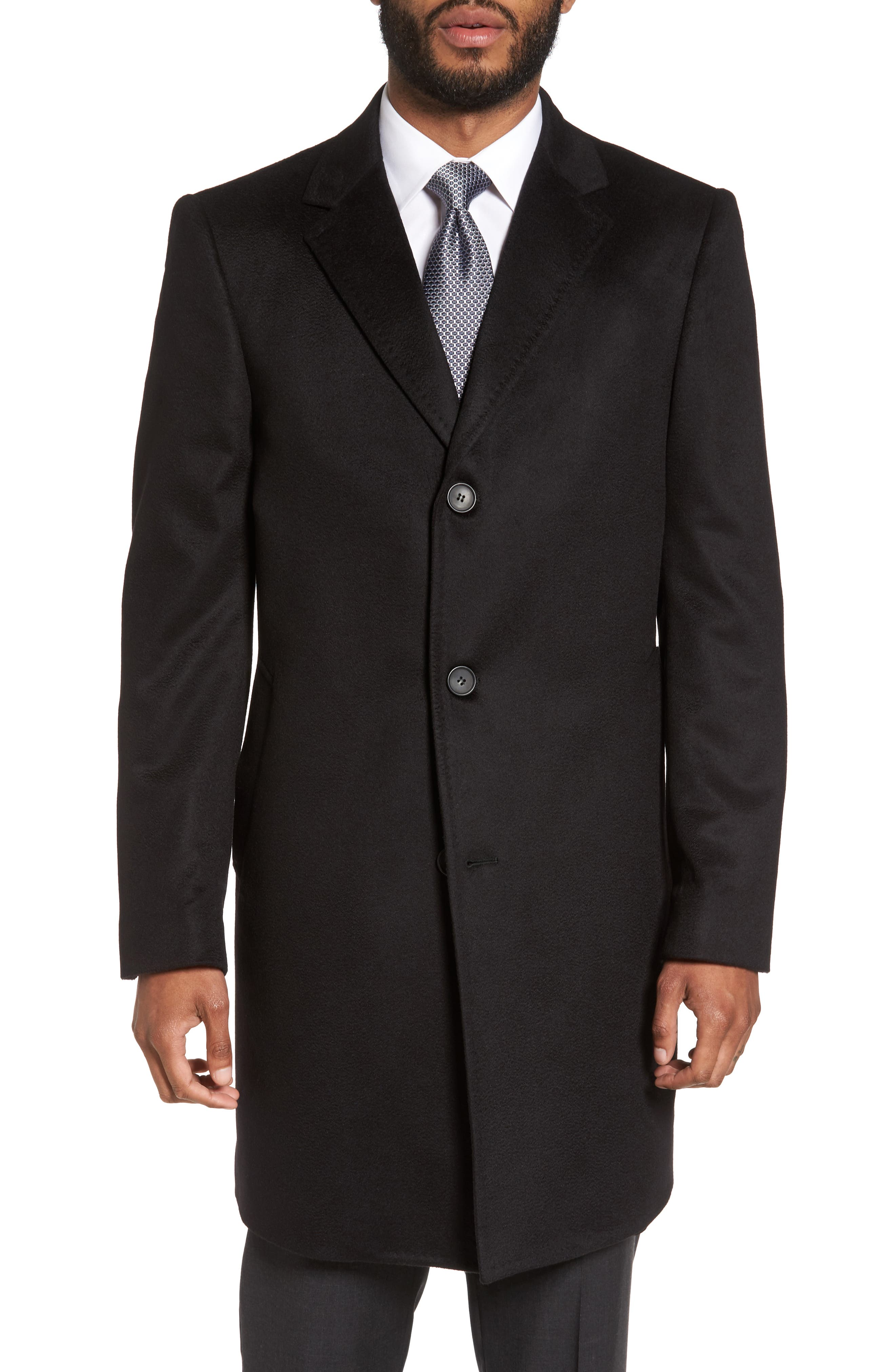 Carter Classic Fit Cashmere Overcoat,                             Main thumbnail 1, color,                             Black