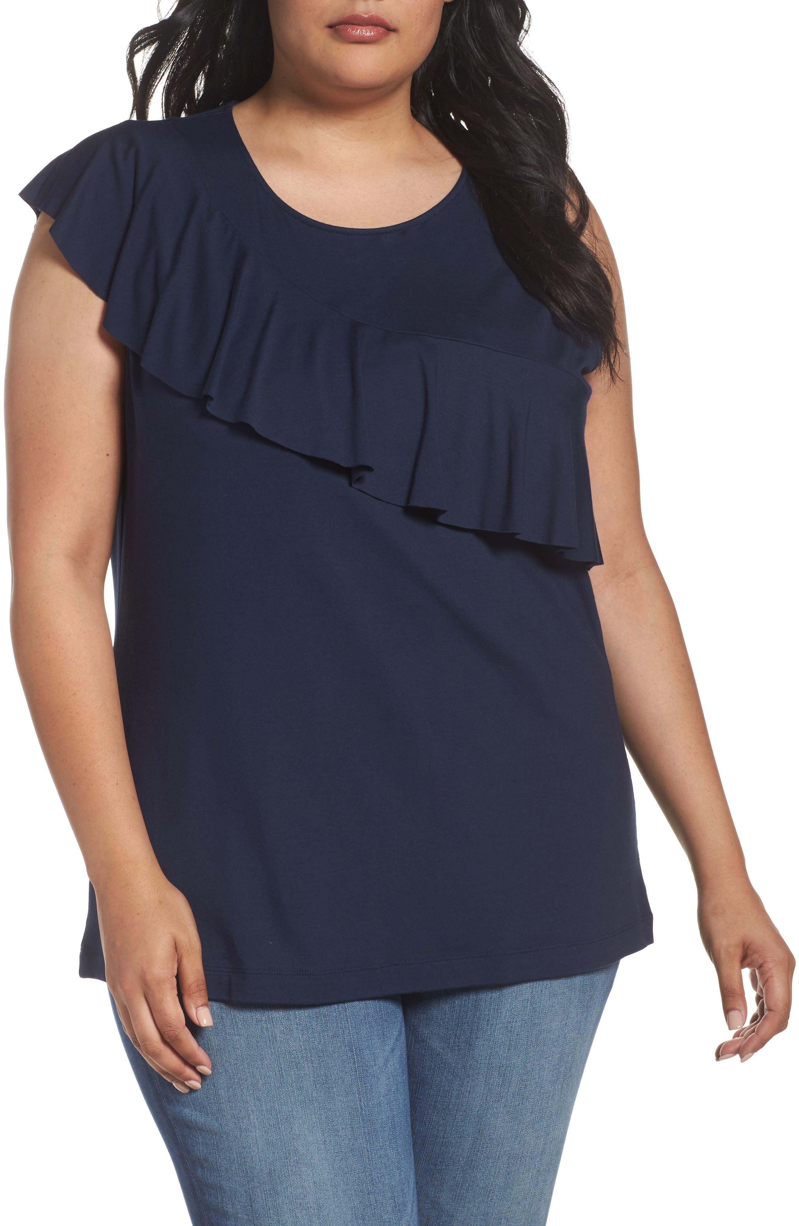 Three Dots Asymmetrical Ruffle Jersey Top (Plus Size)