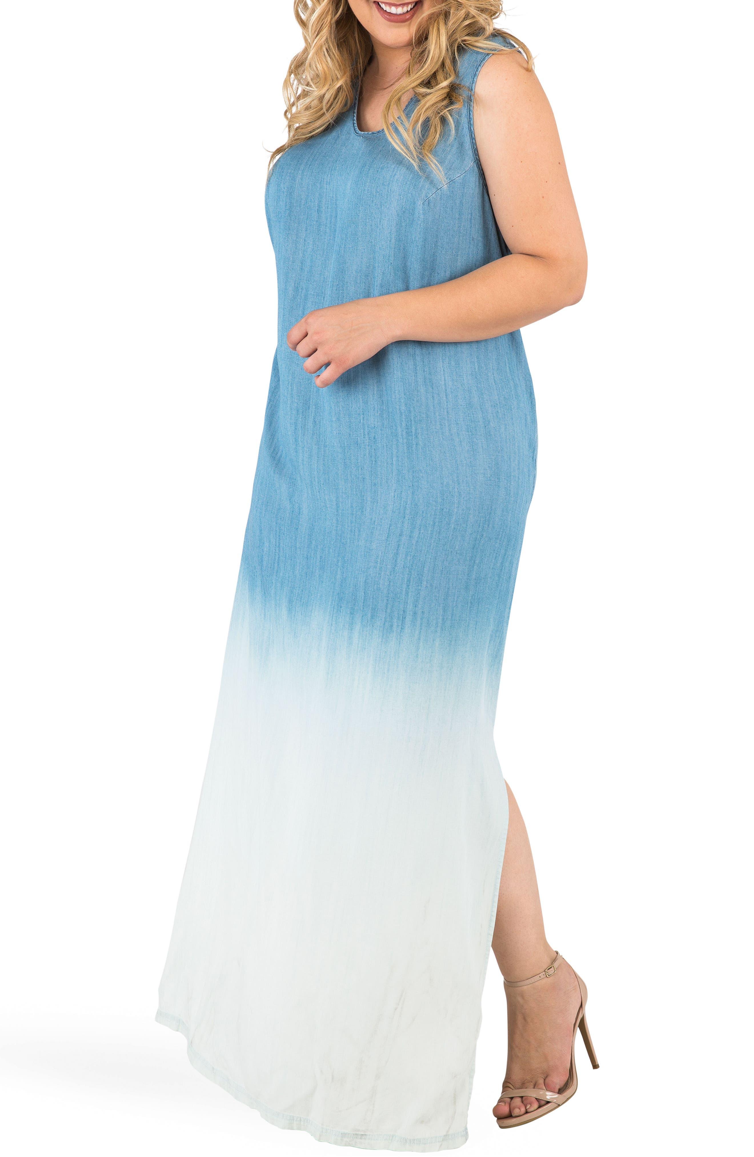 Angie Ombré Chmbray Maxi Dress,                             Alternate thumbnail 4, color,                             Blue