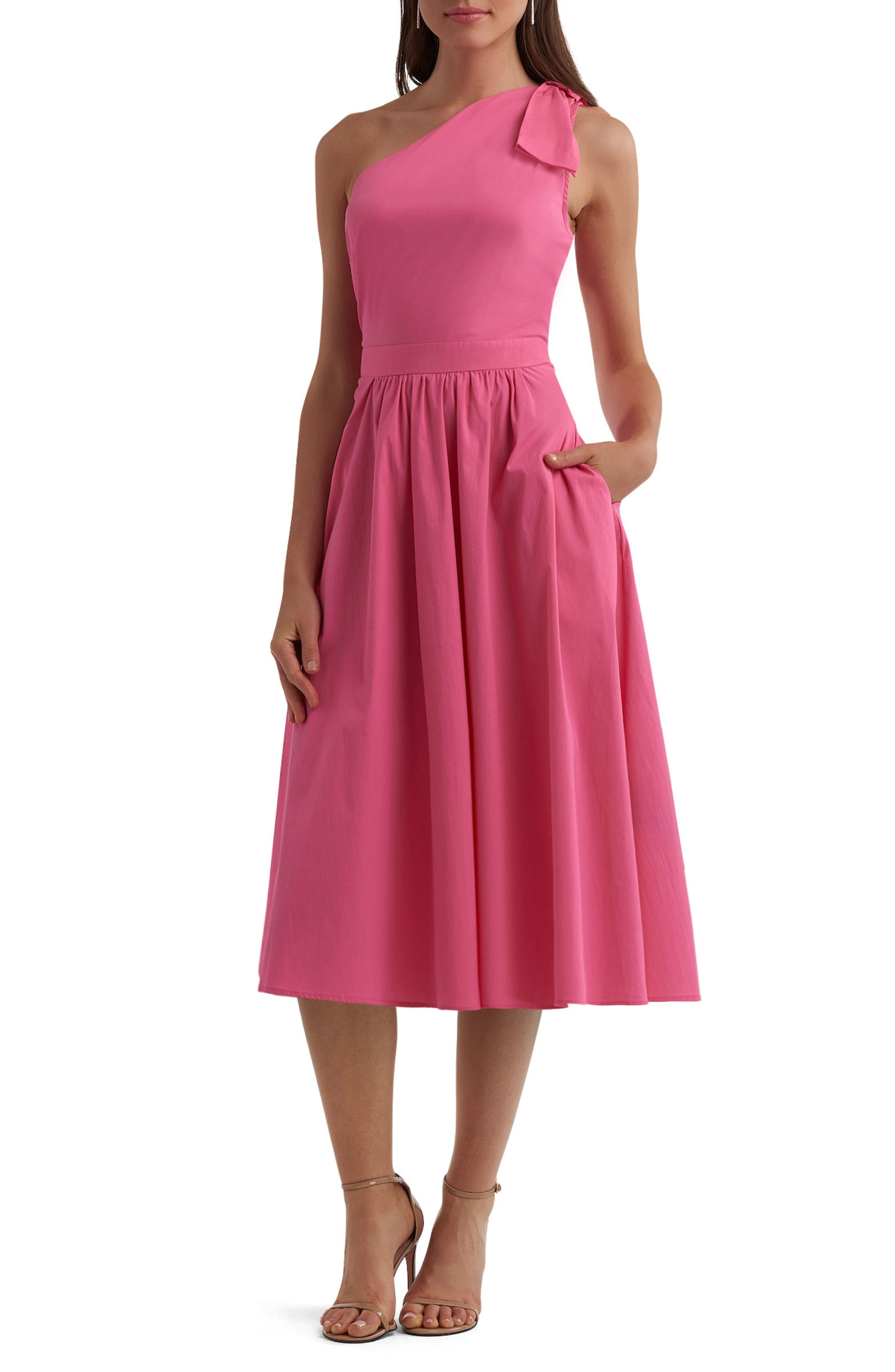 One-Shoulder Dress,                             Main thumbnail 1, color,                             Pink