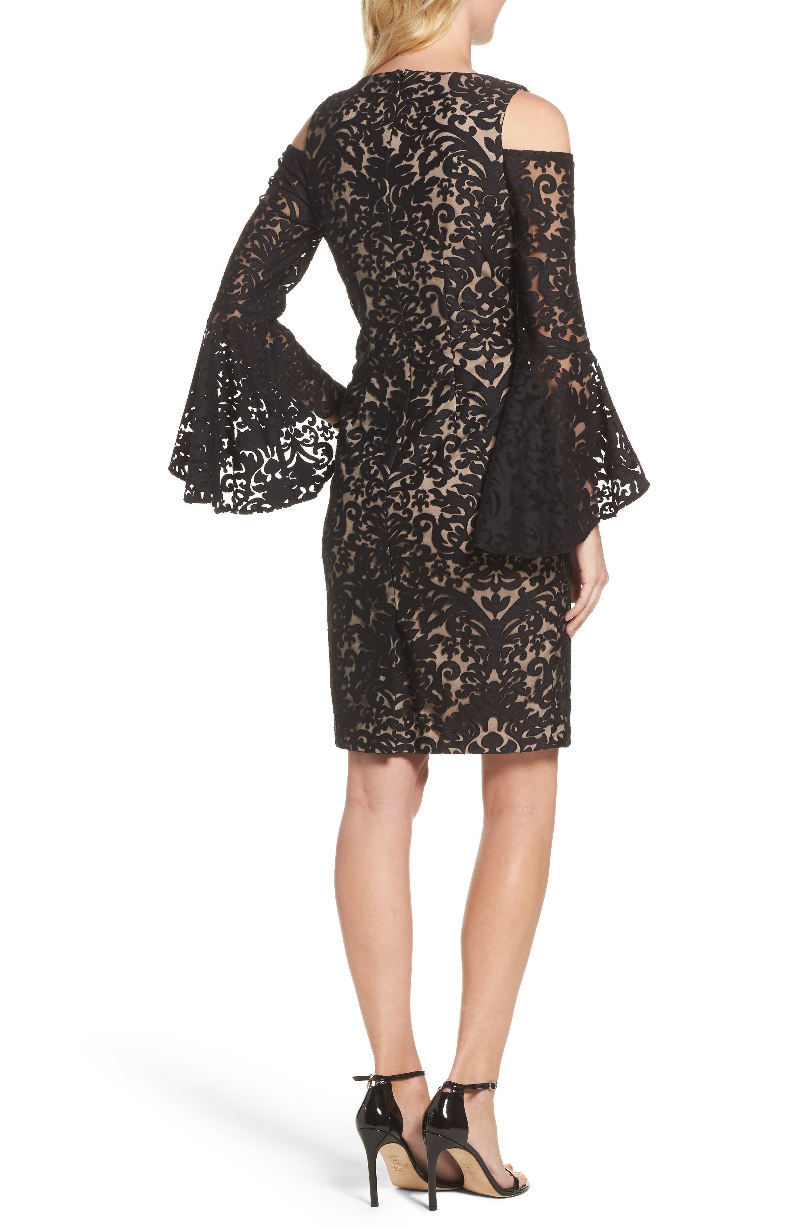 Flocked Cold Shoulder Sheath Dress,                             Alternate thumbnail 2, color,                             Black/ Nude