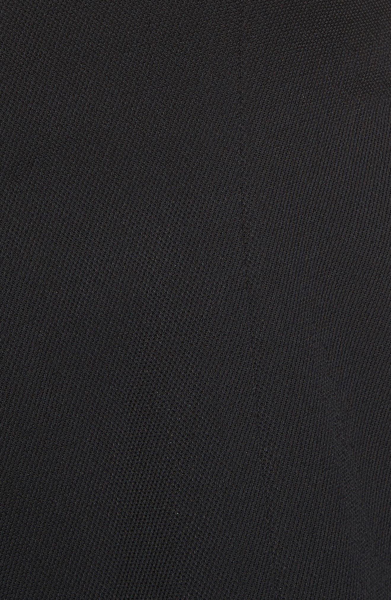 Mixed Media V-Neck Dress,                             Alternate thumbnail 3, color,                             Black