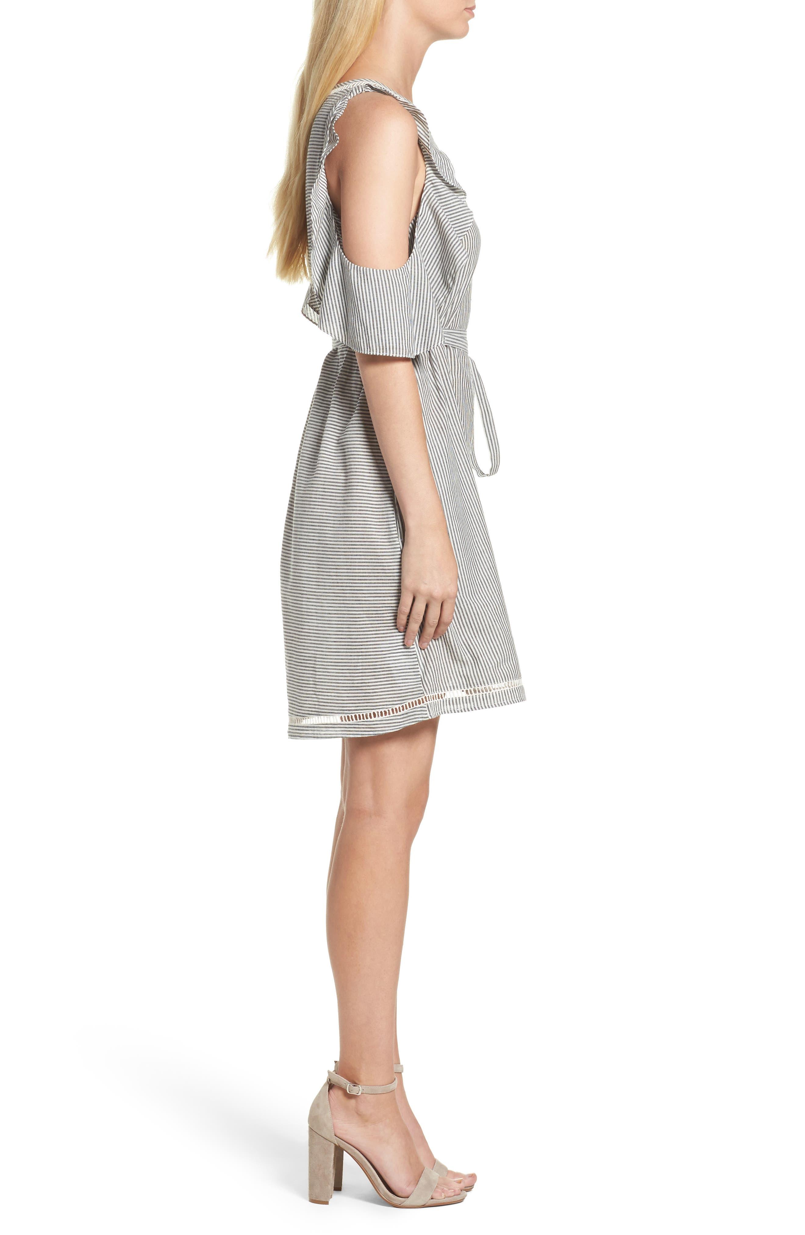 Clea Cold Shoulder Dress,                             Alternate thumbnail 3, color,                             Black/ White