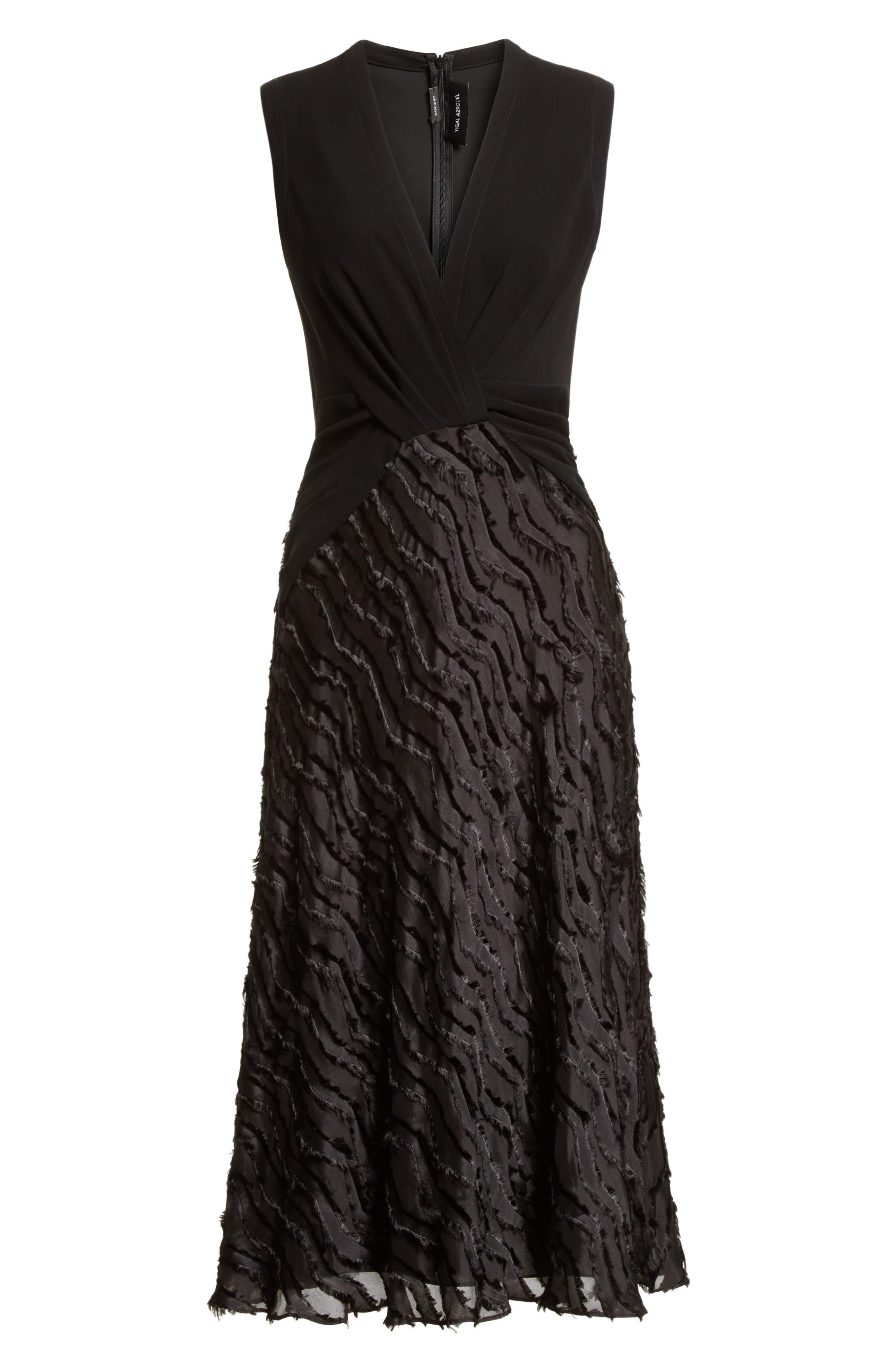 Chevron Fringe Fil Coupé Dress,                             Alternate thumbnail 7, color,                             Black