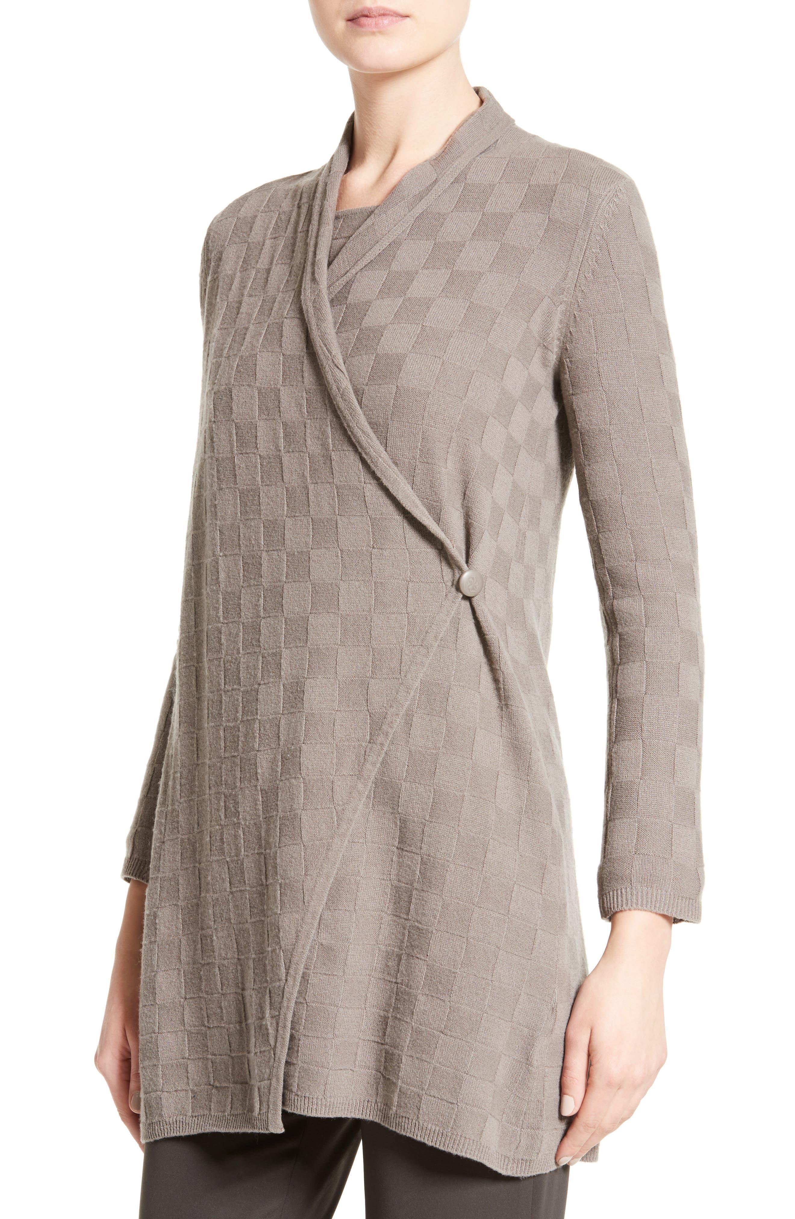Alternate Image 6  - Armani Collezioni Checkerboard Cashmere Drape Cardigan