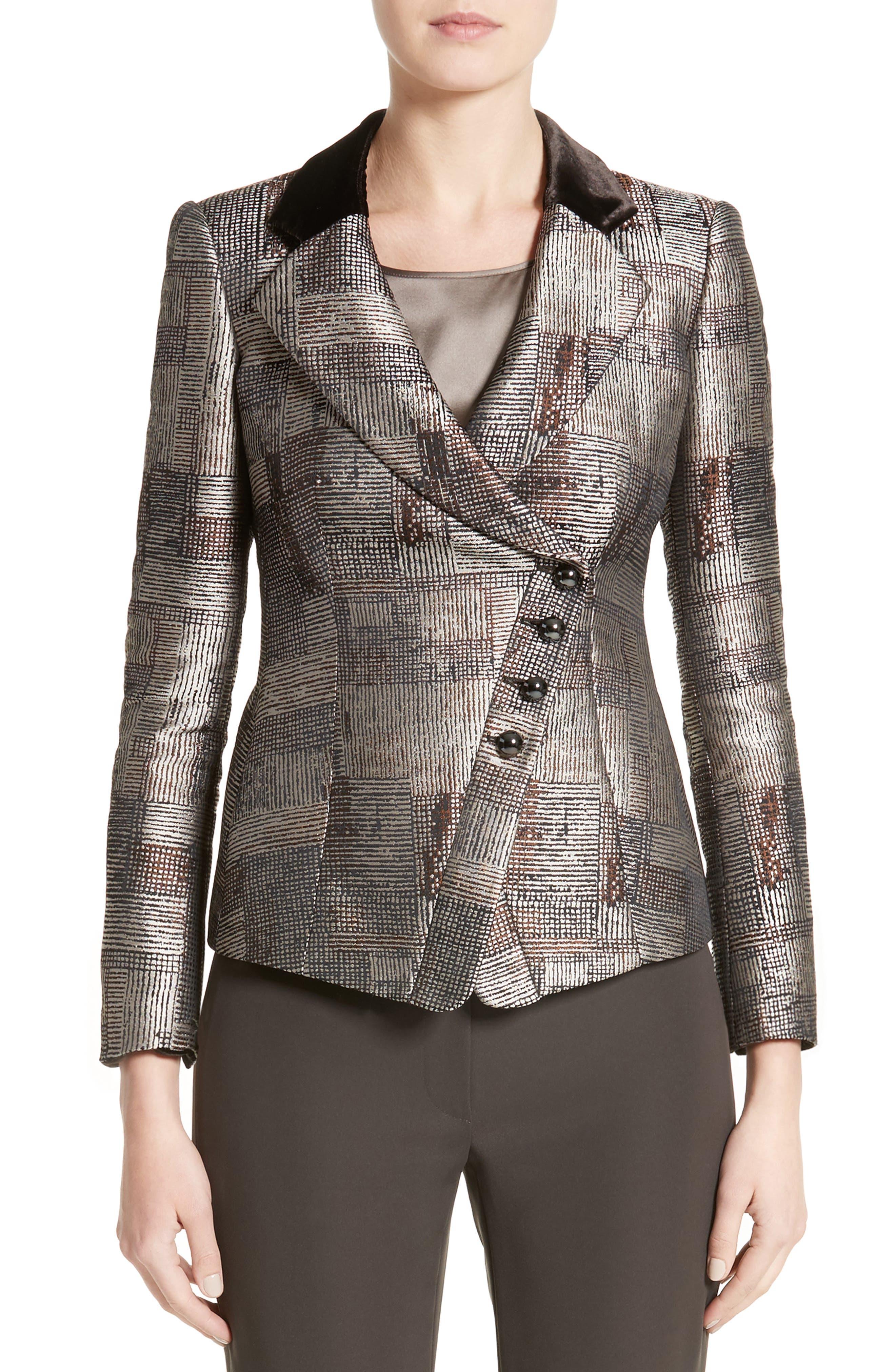Main Image - Armani Collezioni Panel Jacquard Asymmetrical Jacket