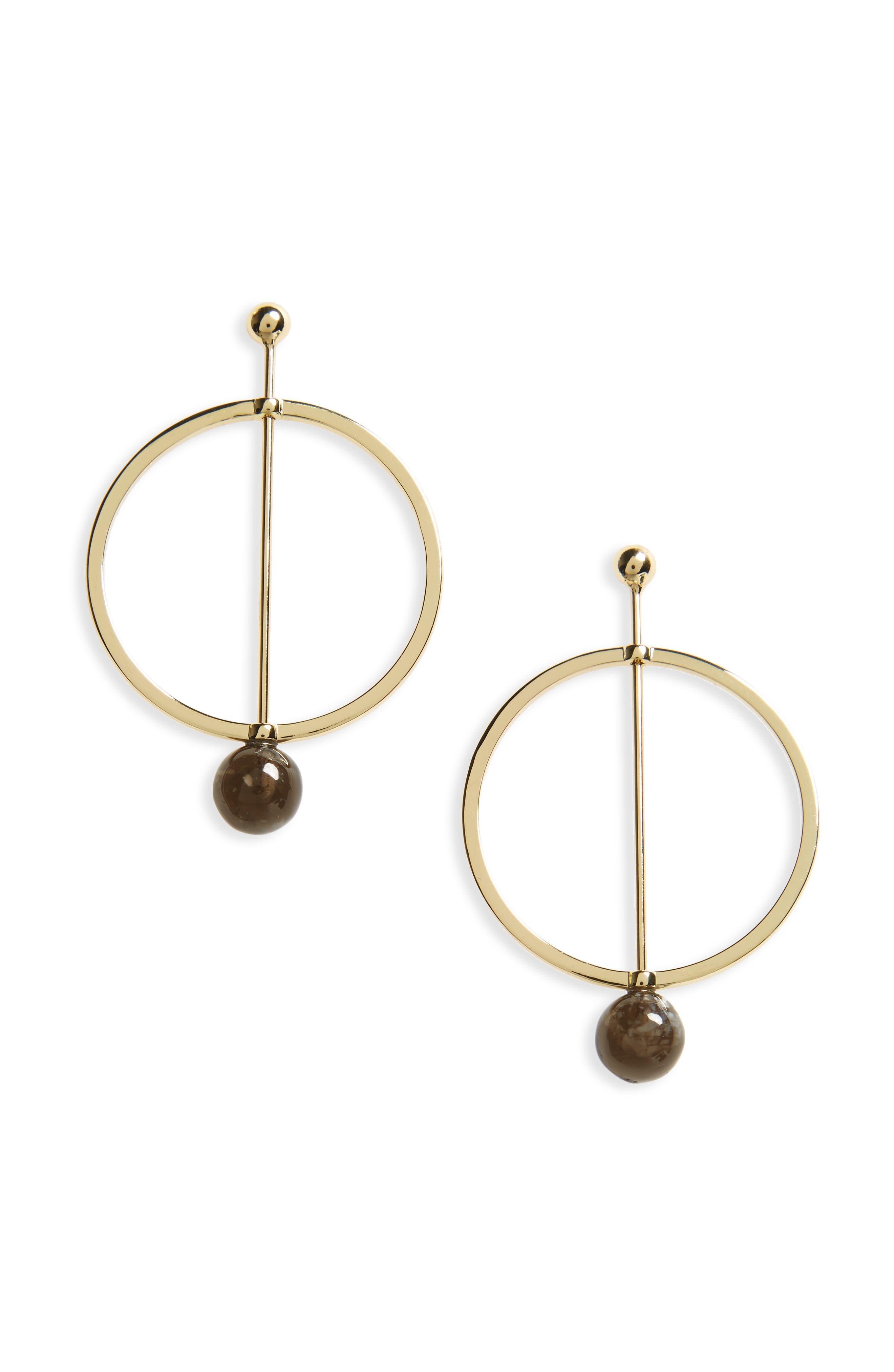 Shashi Linear Marble Hoop Earrings