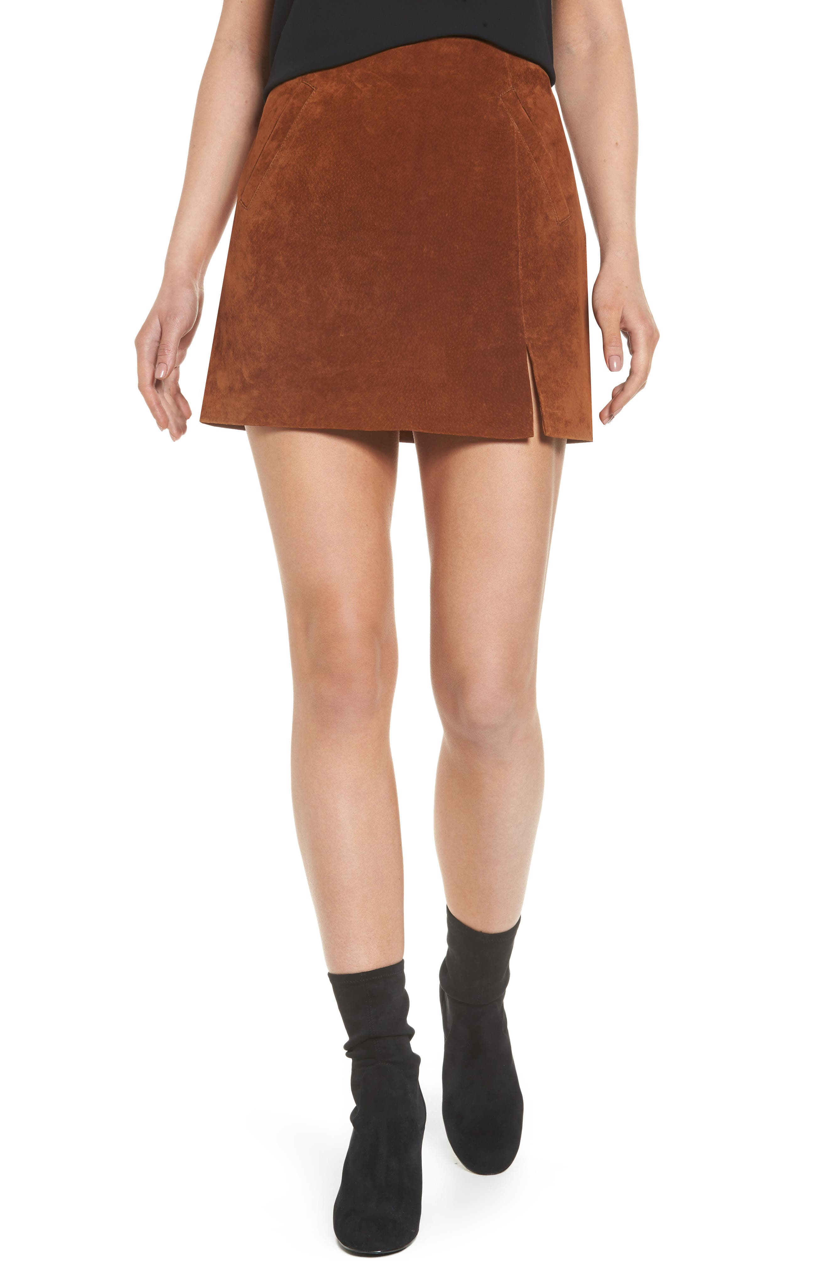 Suede Miniskirt,                         Main,                         color, Spice