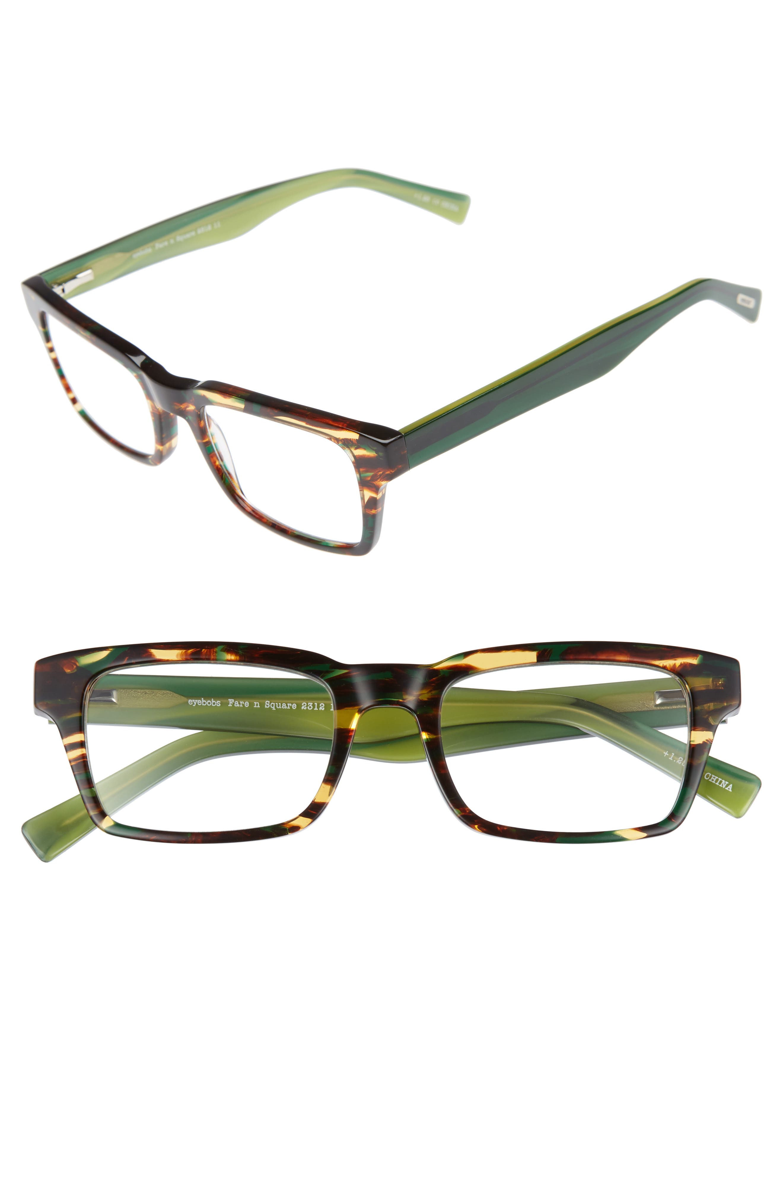 Fare N Square 51mm Reading Glasses,                             Main thumbnail 1, color,                             Green Tortoise